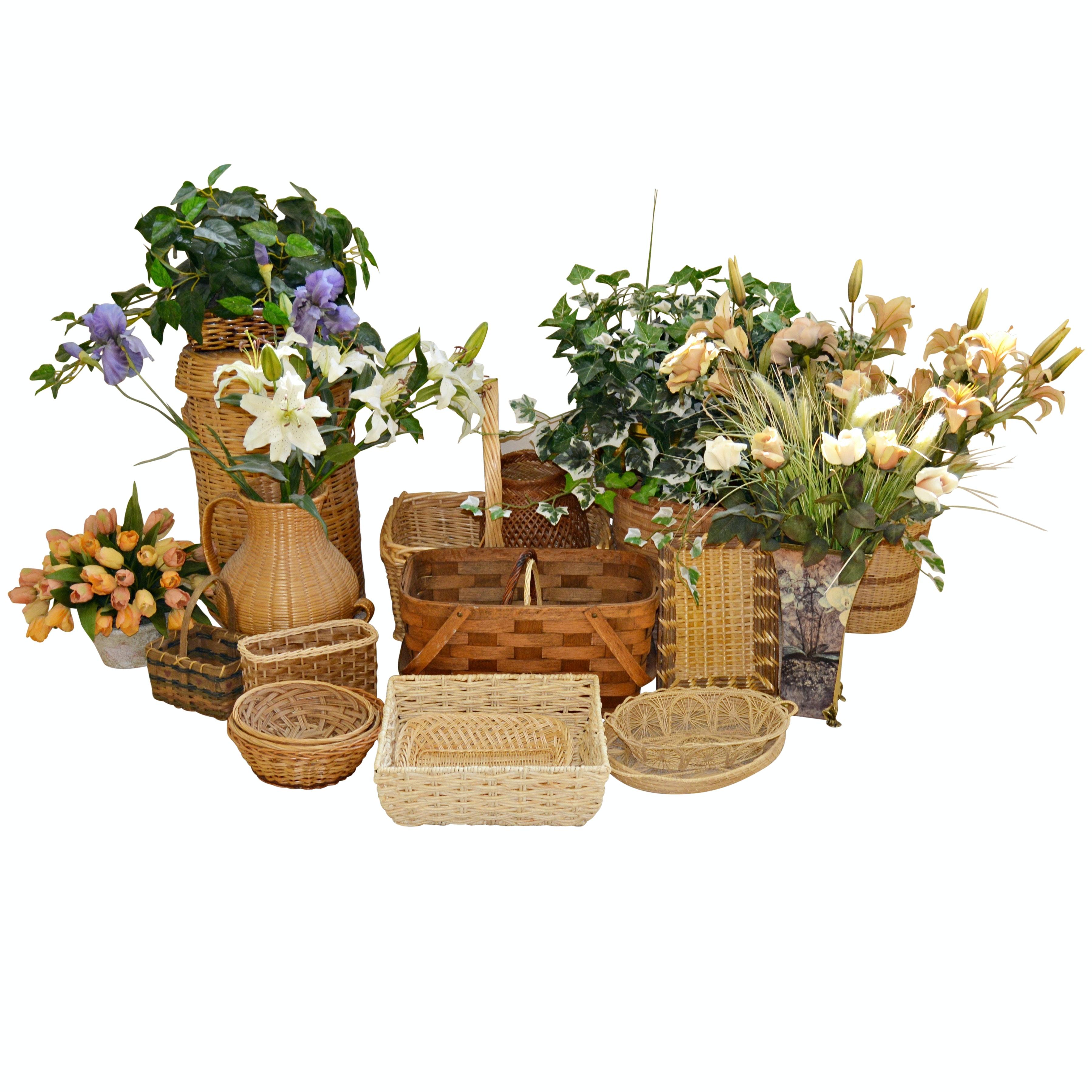 Storage Baskets and Artificial Floral Arrangements