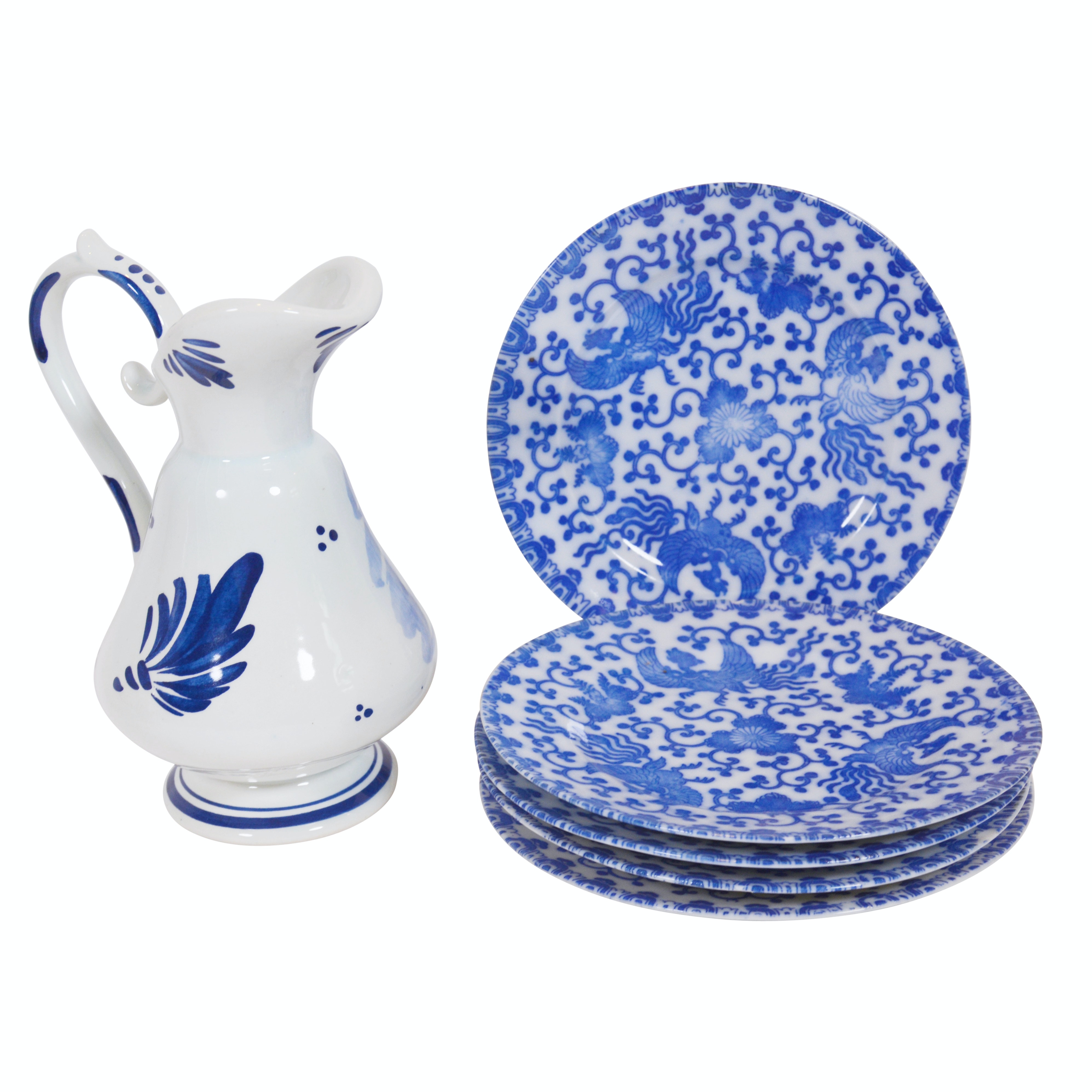 Delft Pottery Pitcher and Japanese Ceramic Plates