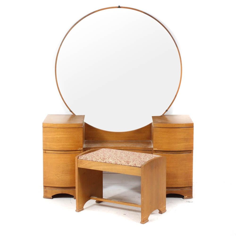 Mid-Century Modern Vanity Dresser With Stool