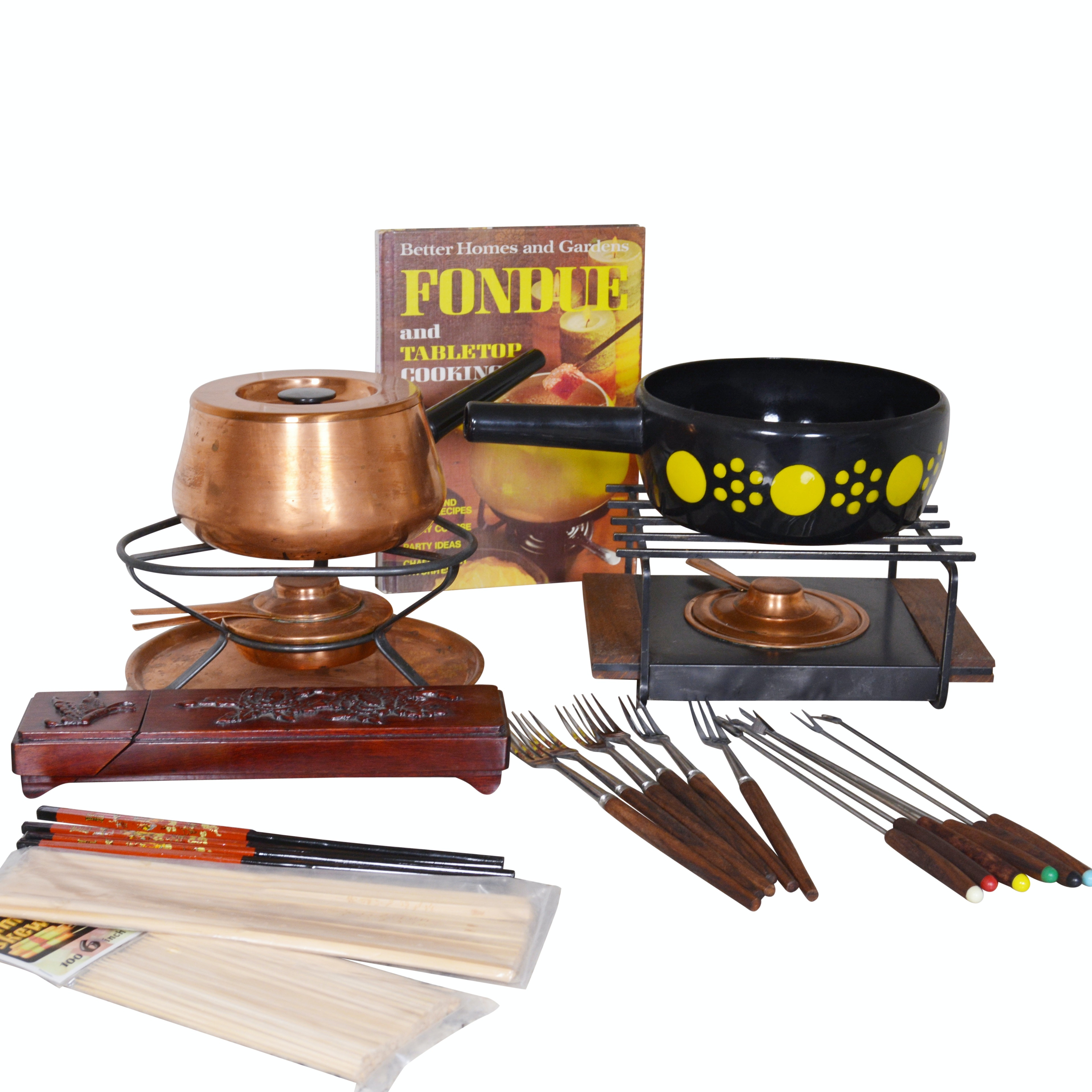 Fondue Pots and Accessories Including Copper Pot and Warming Stand