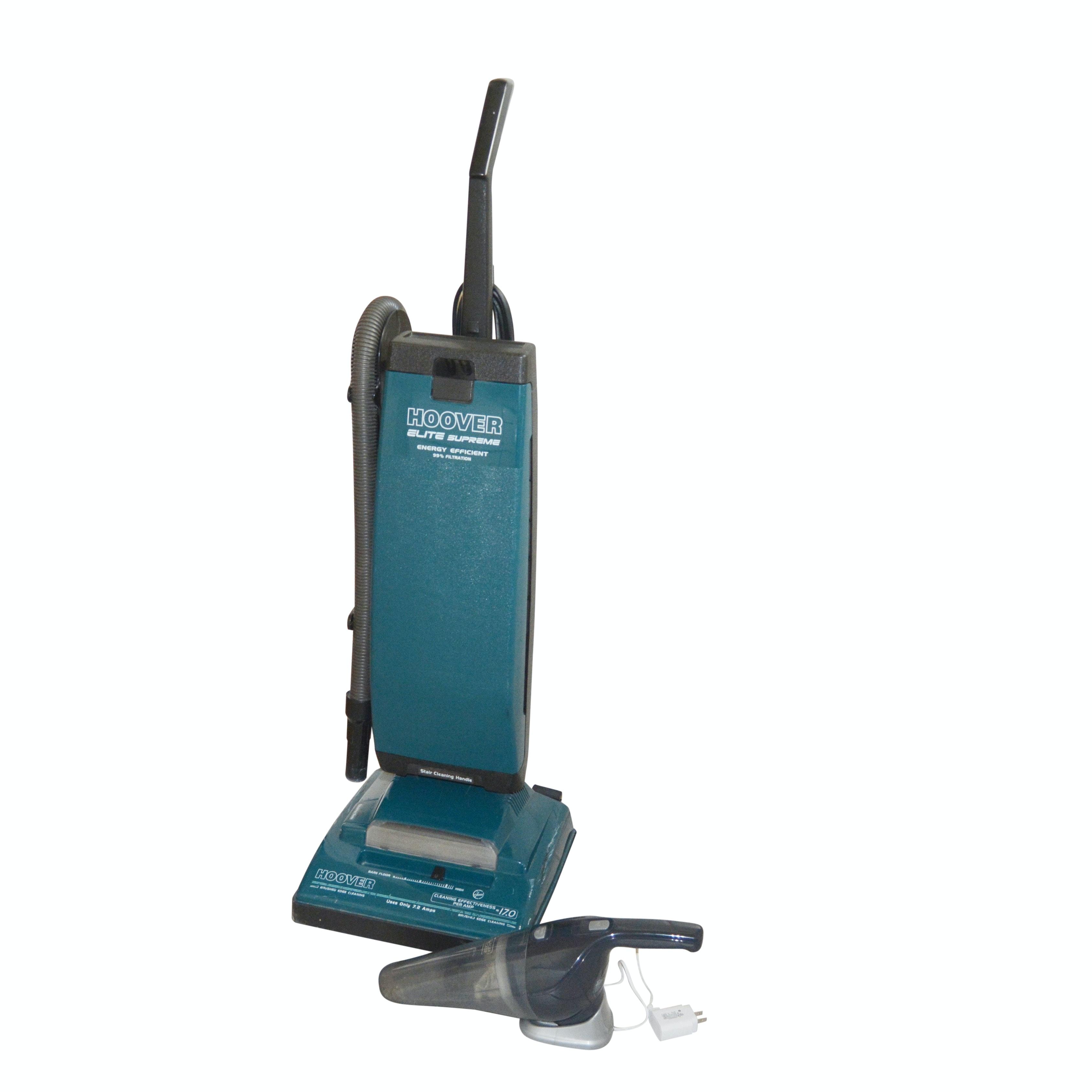 "Hoover ""Elite Supreme"" Upright Vacuum and Black+Decker Hand Vac"