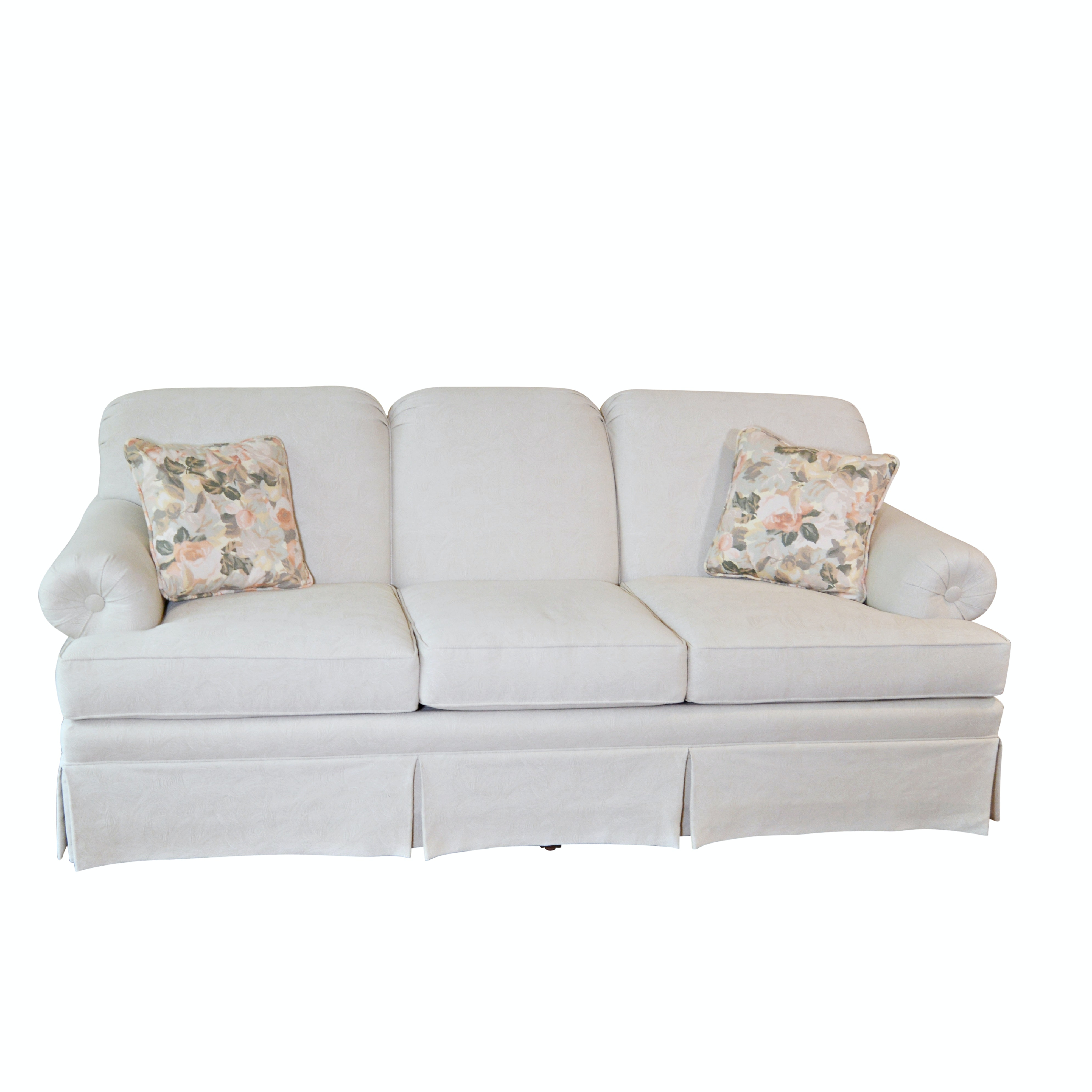 Contemporary Taupe Patterned Sofa by Ethan Allen