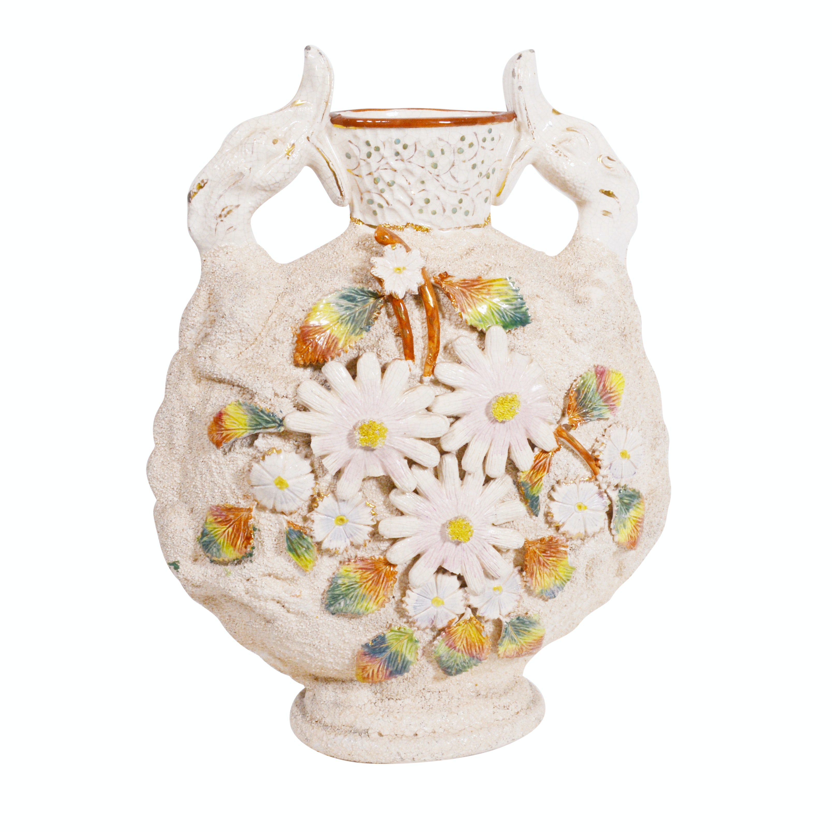 English Lizard and Floral Majolica Moon Flask Pottery Vase