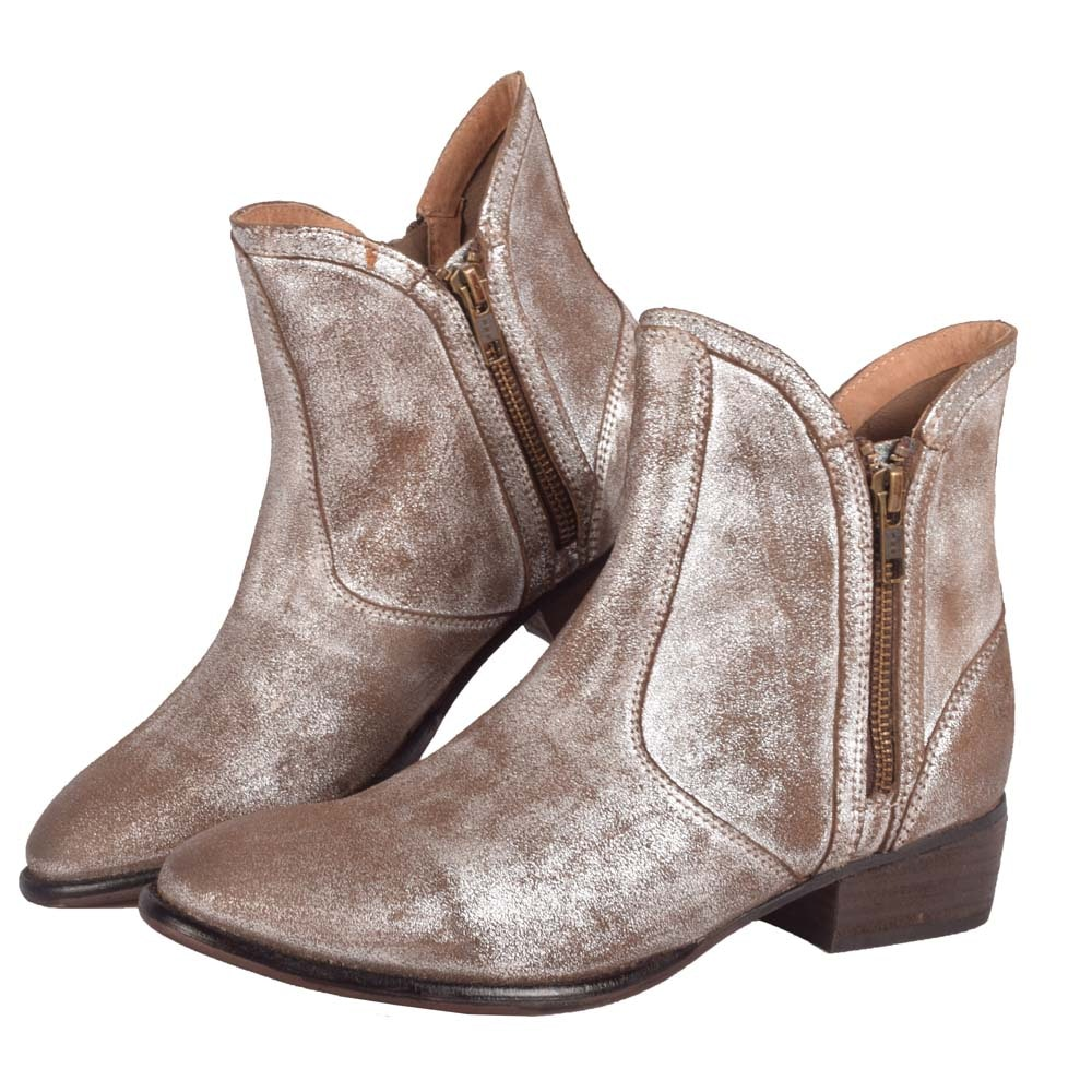 Seychelles Lucky Penny Metallic Pewter Leather Booties
