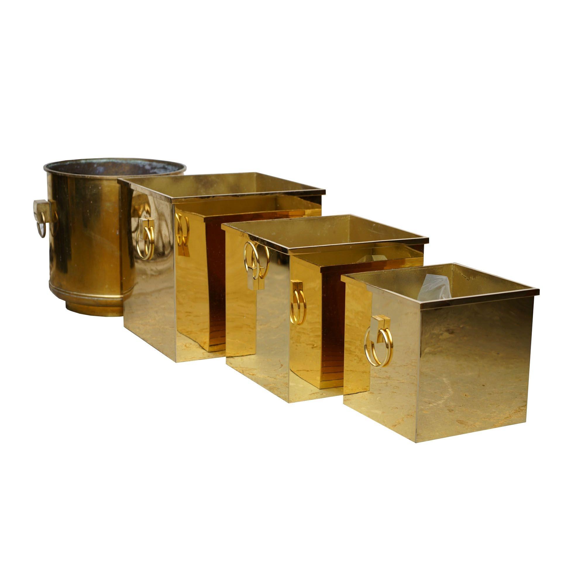 Brass Three-Piece Nesting Planter Set with Other Brass Planter
