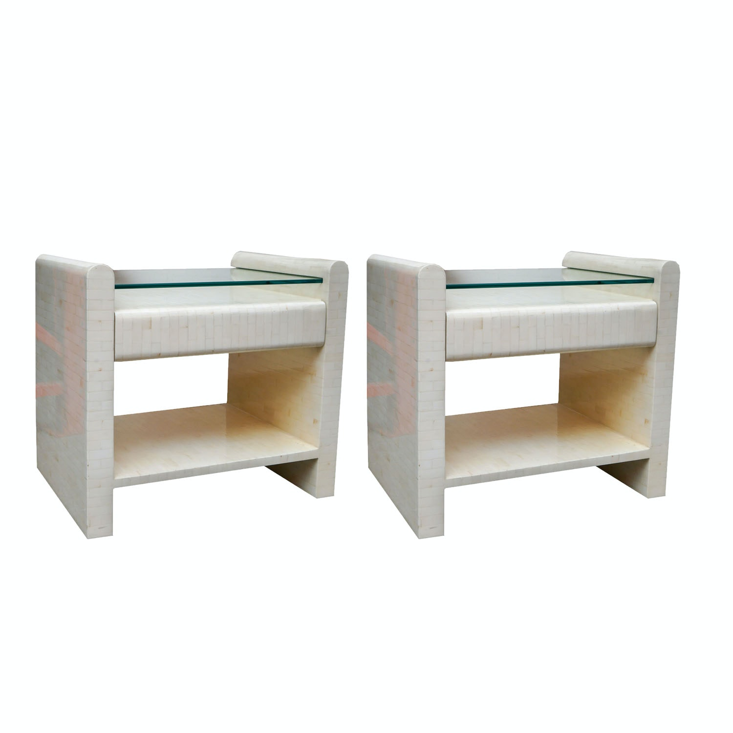 Tessellated Bone Tile Nightstands by Enrique Garcel