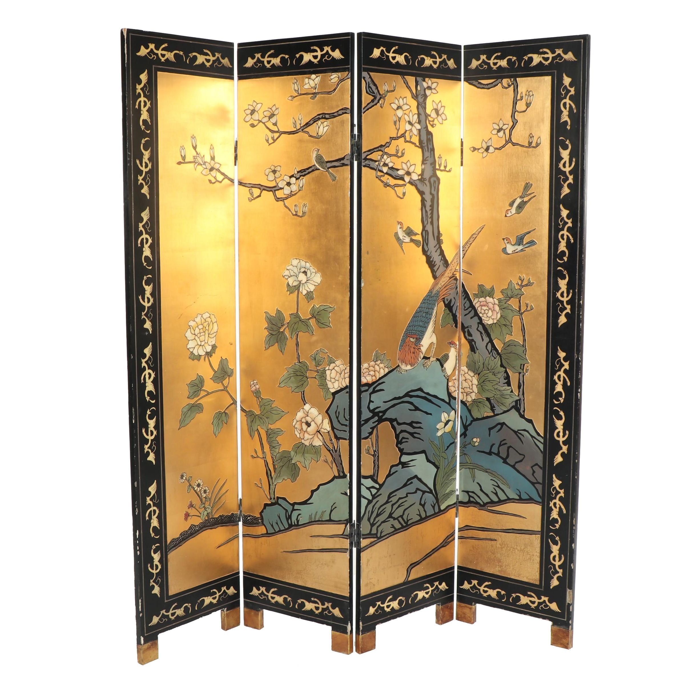 4 Panel Asian Screen with Floral Decor