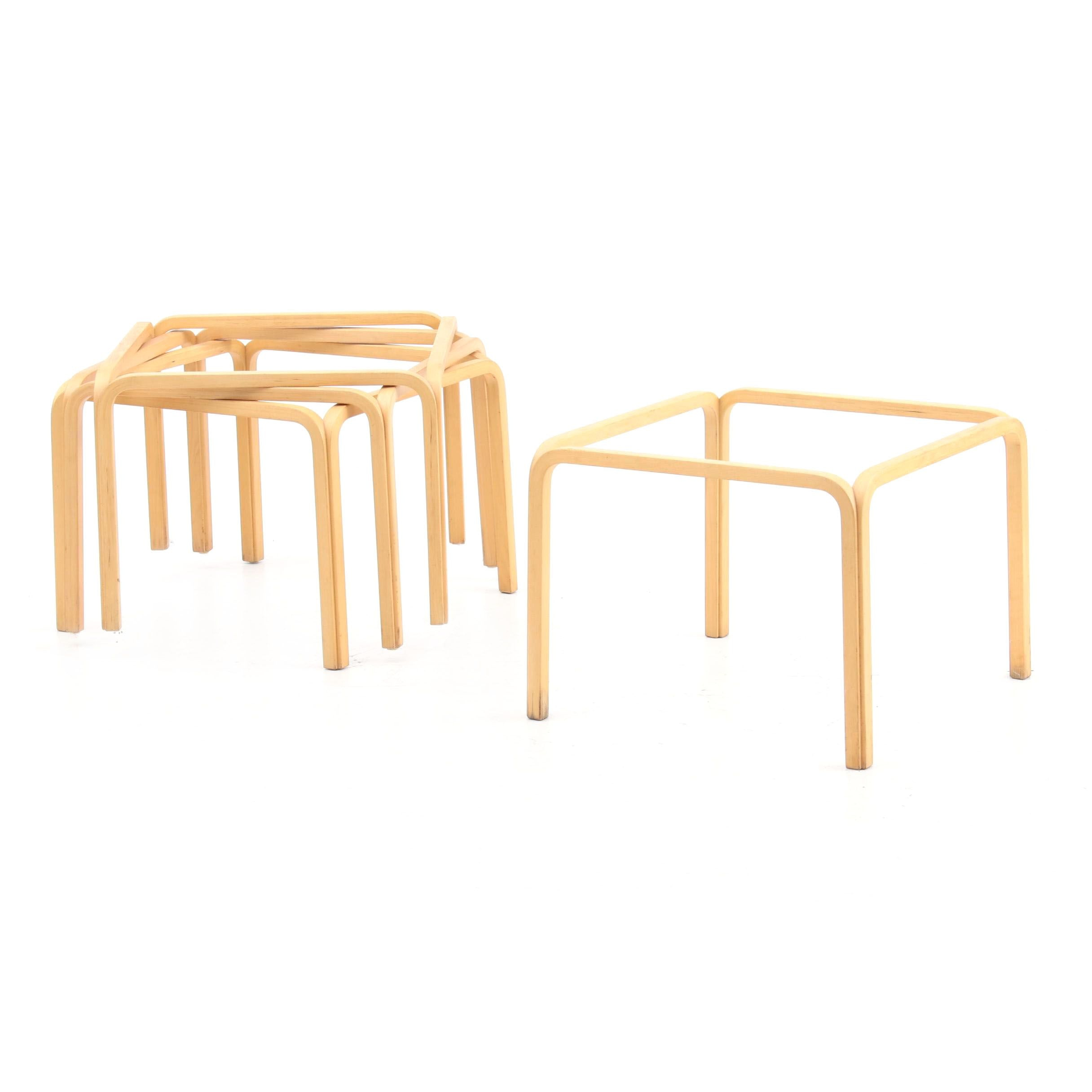 Four Bentwood Table Bases in Beech