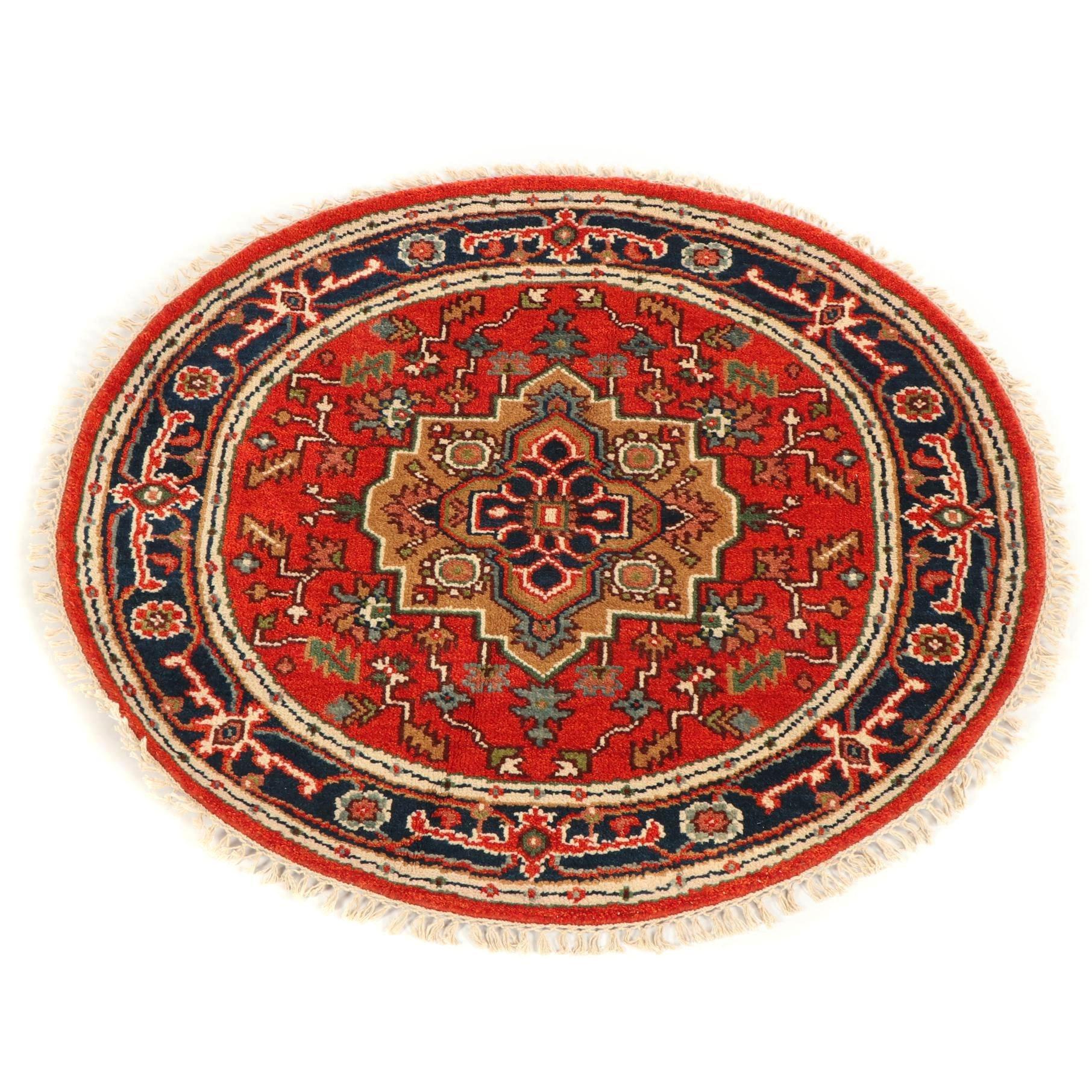 Hand-Knotted Indo-Heriz Round Wool Rug