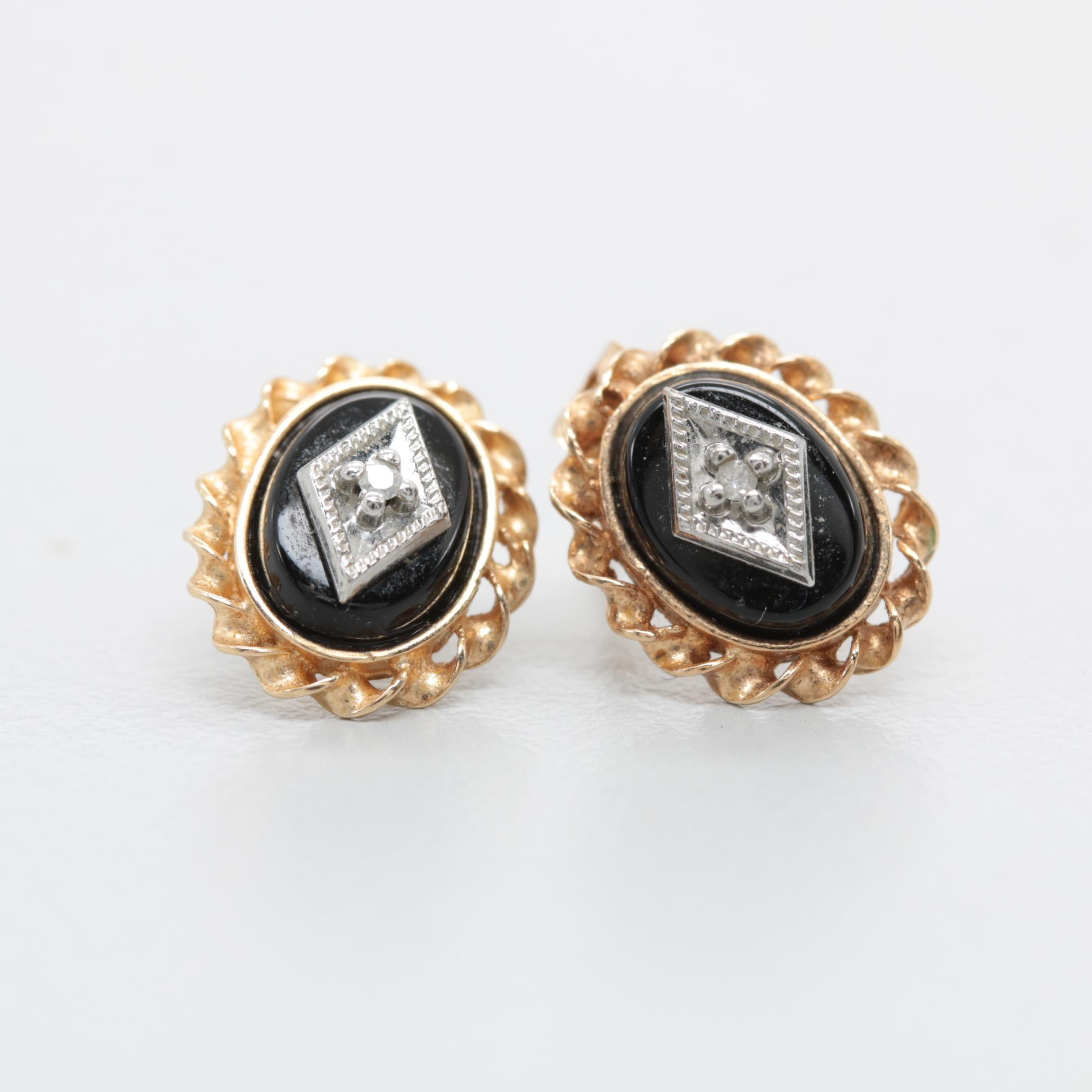 14K Yellow Gold Black Onyx and Diamond Earrings