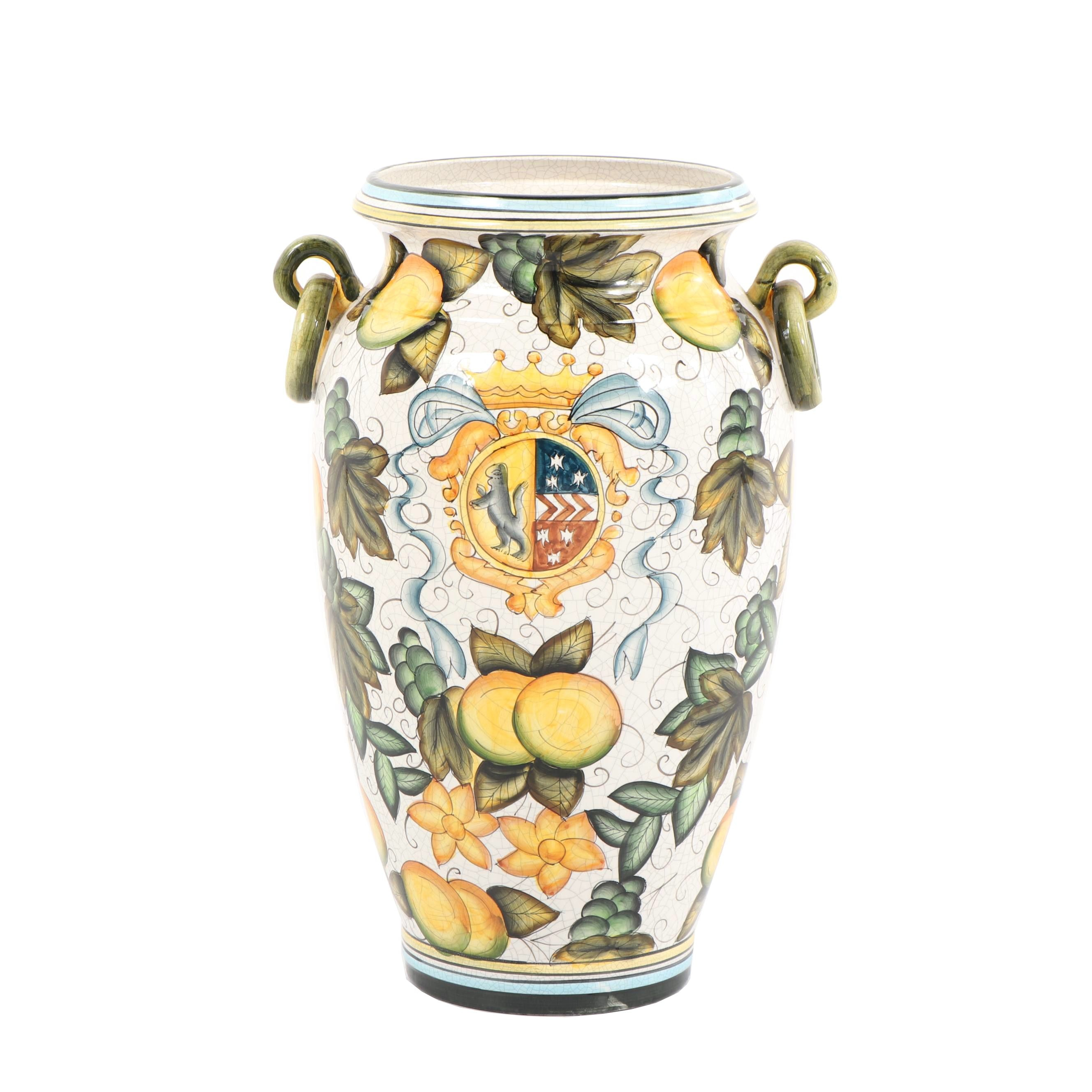 Contemporary Majolica Style Pottery Vase