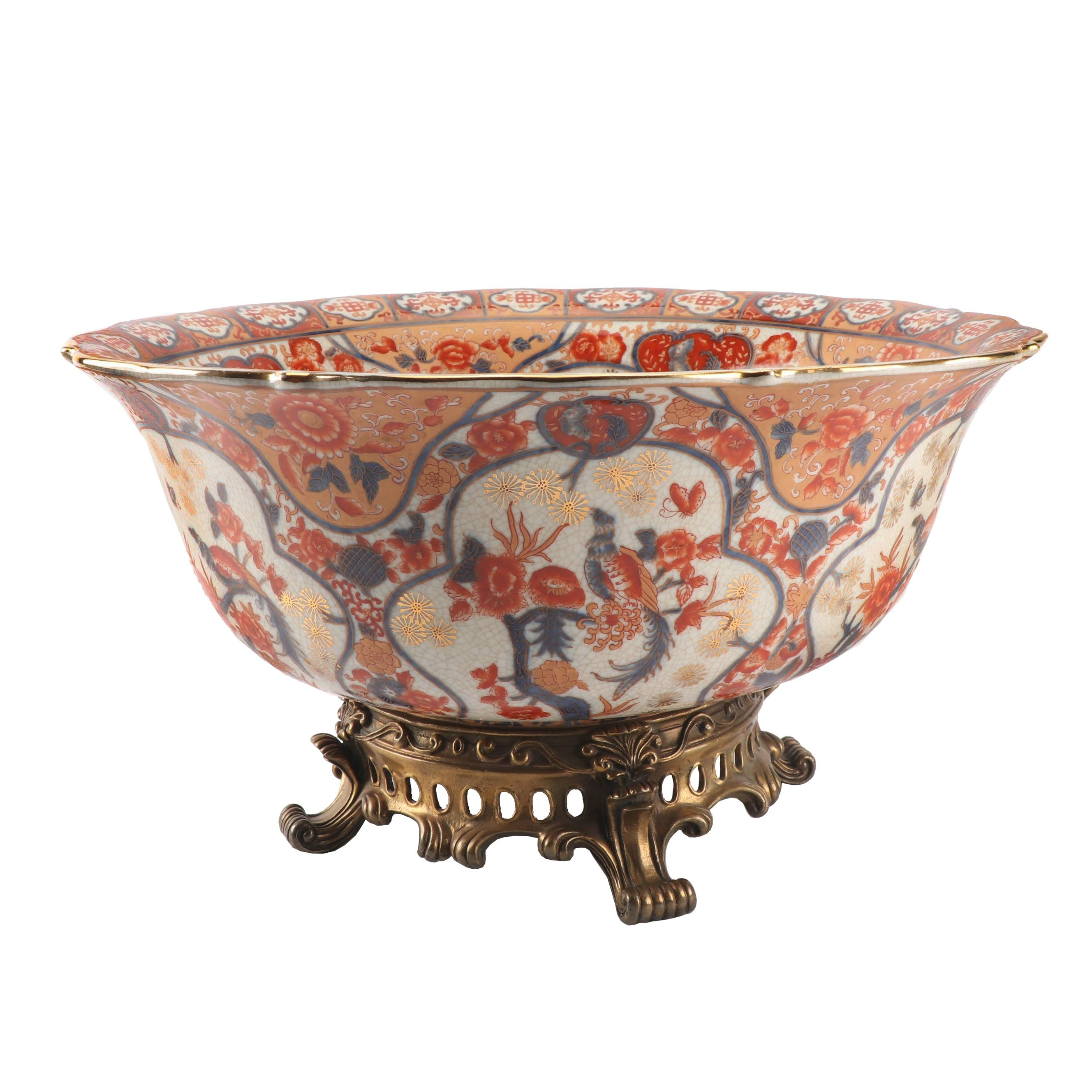Castillian Chinese Imari Porcelain Bowl with Metal Footed Base