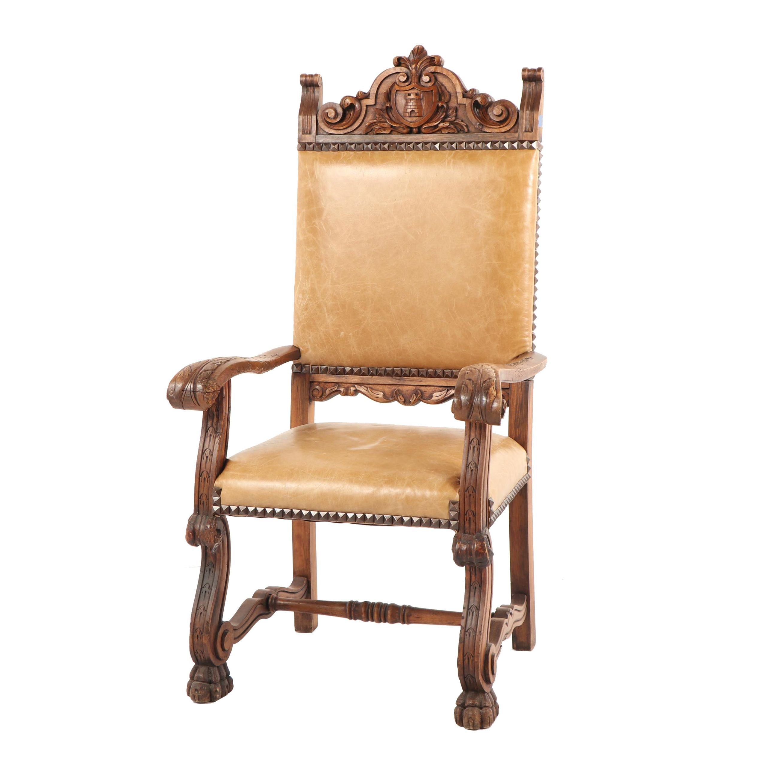 Louis XIII Style Carved Wood Armchair, Early 20th Century