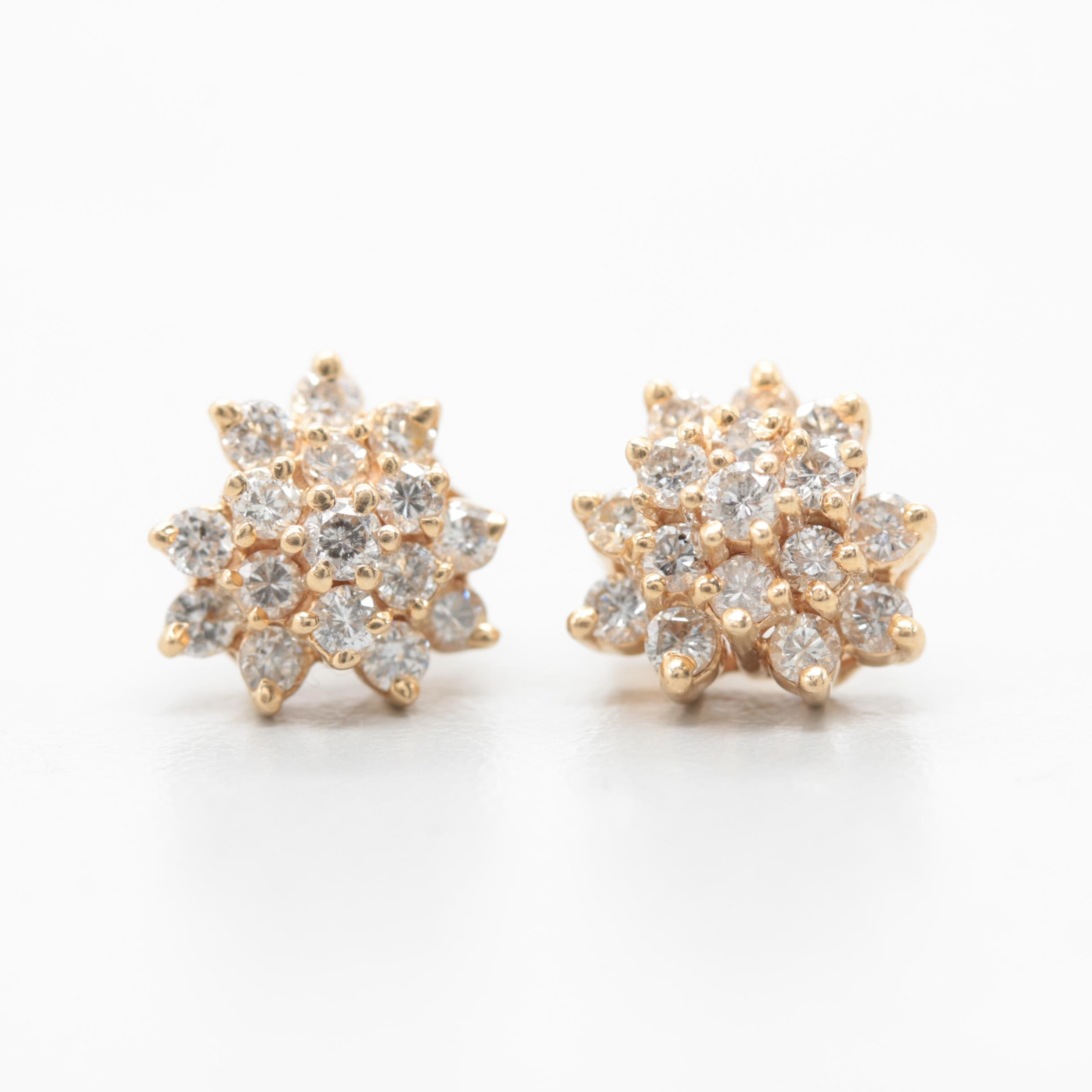 14K Yellow Gold 0.96 CTW Diamond Stud Earrings