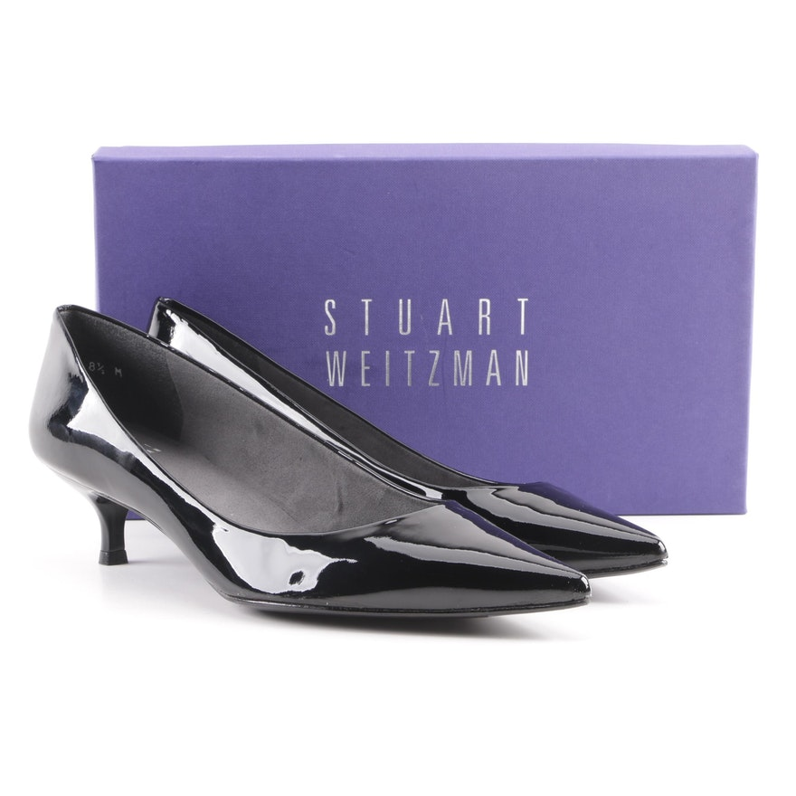 afecb8380f1 Stuart Weitzman Poco Black Patent Leather Kitten Heel Pumps   EBTH