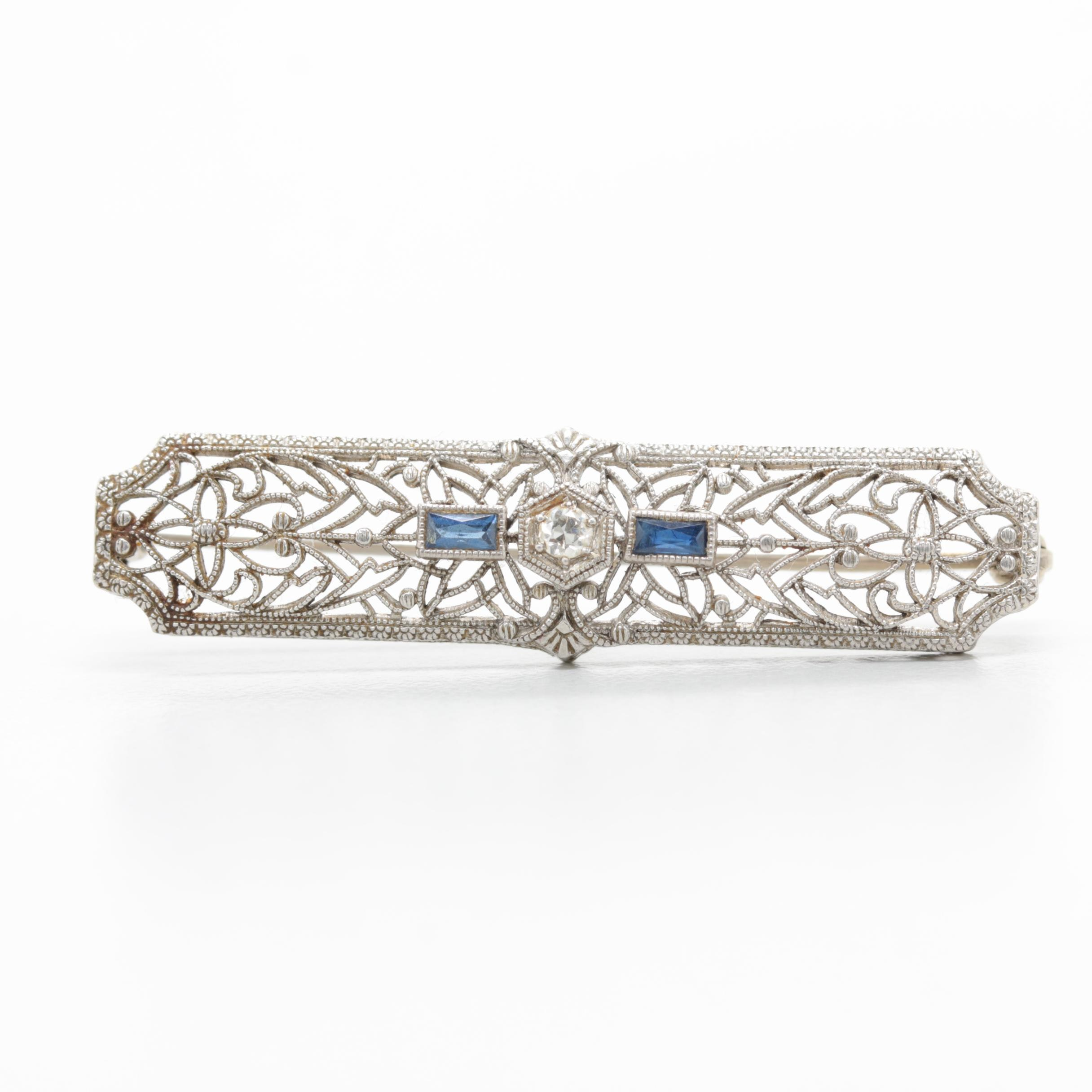 Art Deco 14K White Gold and Platinum Diamond and Synthetic Sapphire Brooch