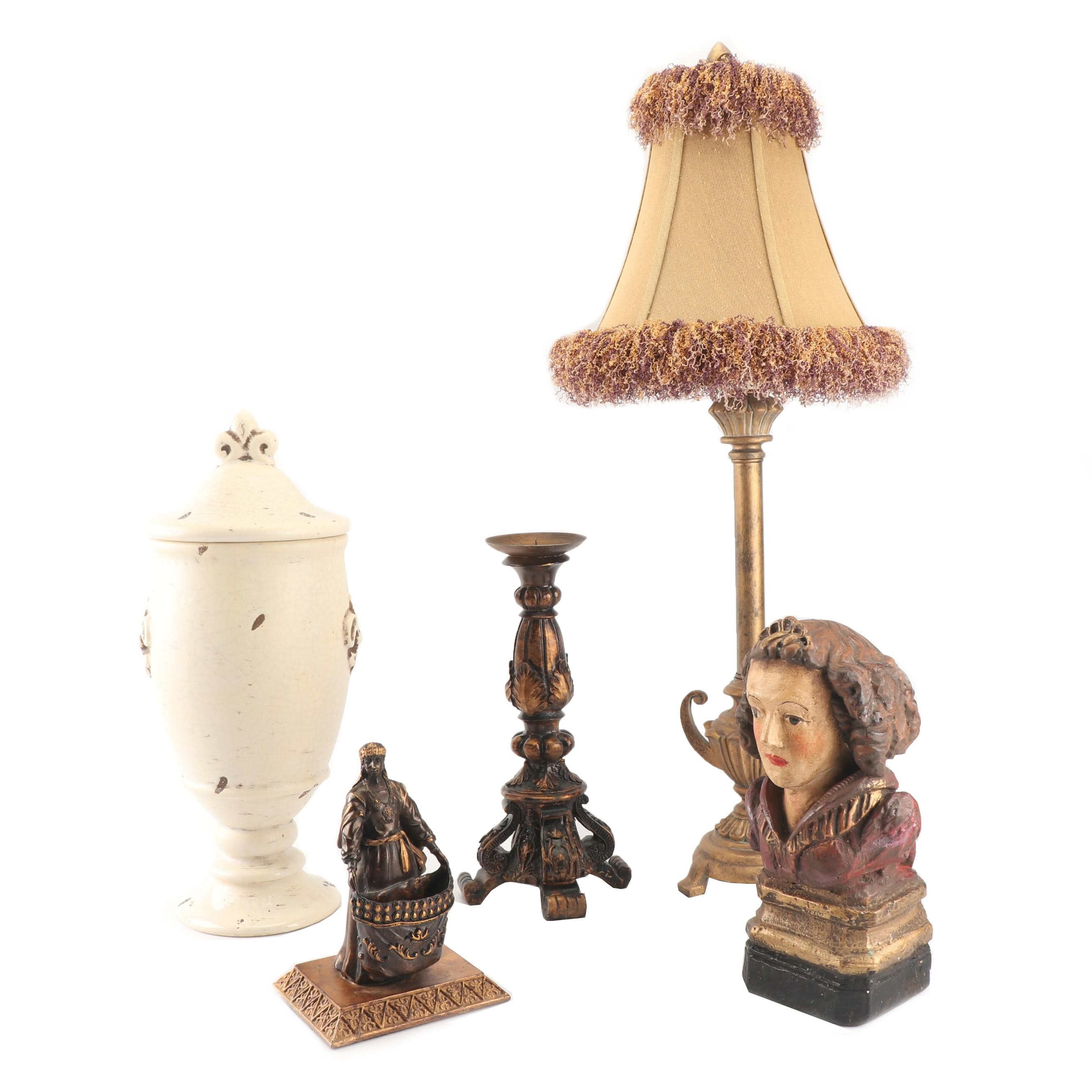 Gilt Finish Trophy Table Lamp and Home Decor