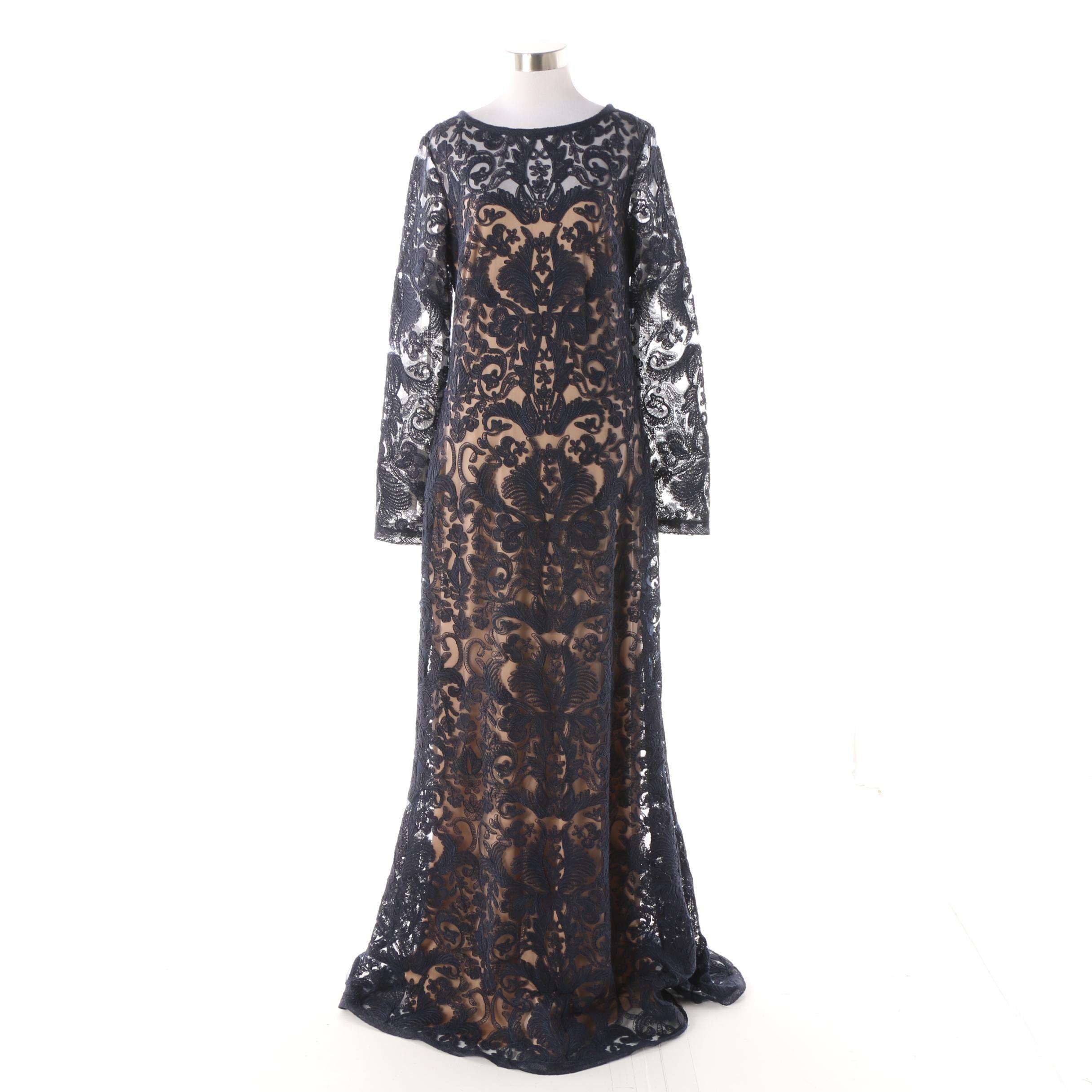 Tadashi Shoji Navy Lace Overlay Long Sleeve Gown