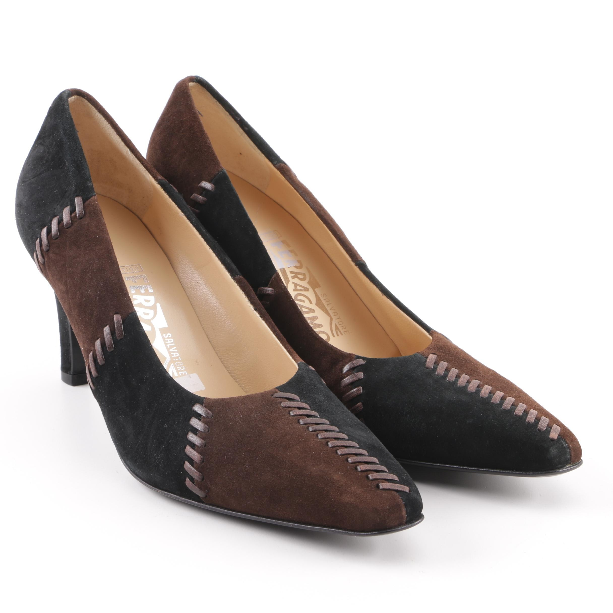 Salvatore Ferragamo Brown and Black Suede High-Heeled Shoes