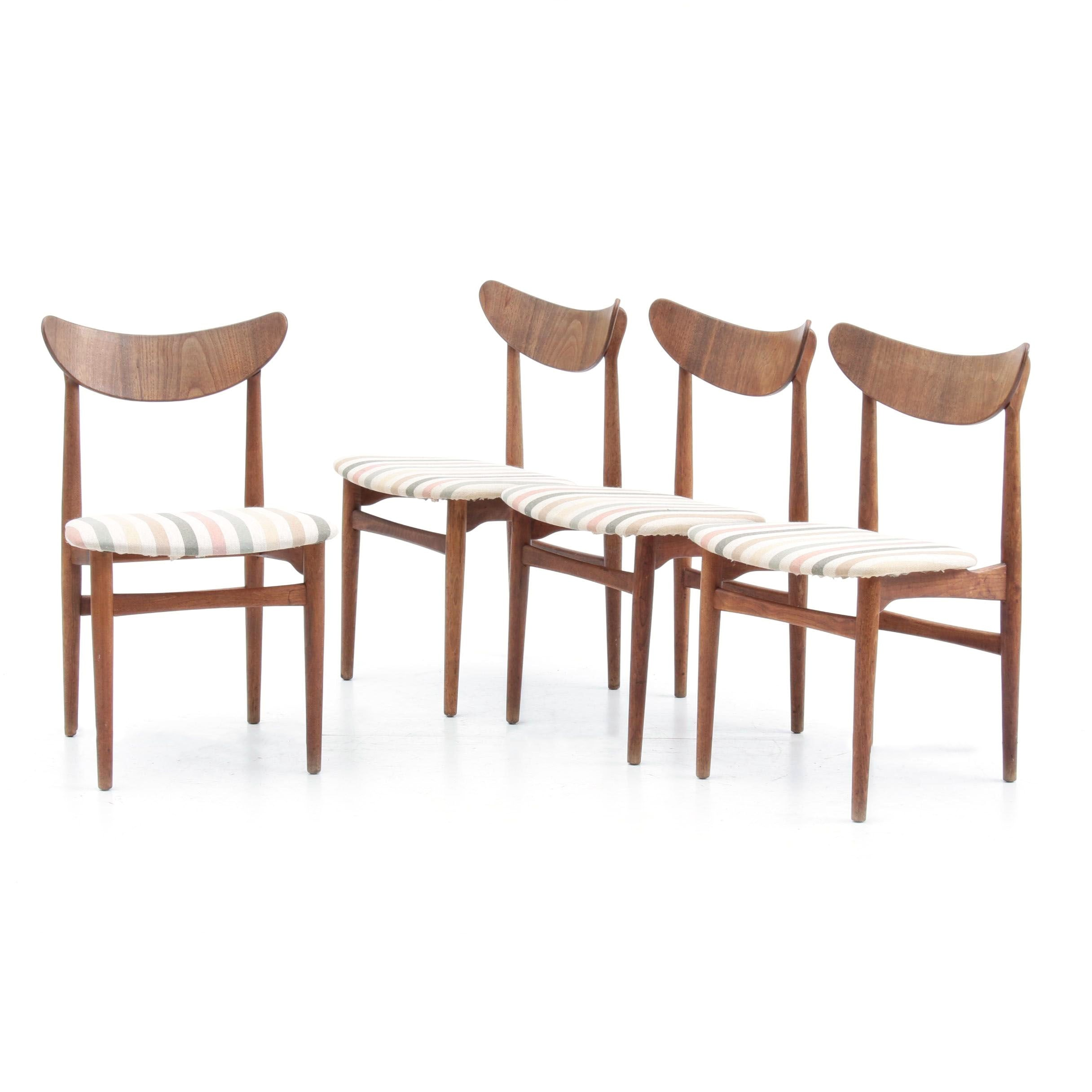 Four Mid Century Style Upholstered Side Chairs in Walnut