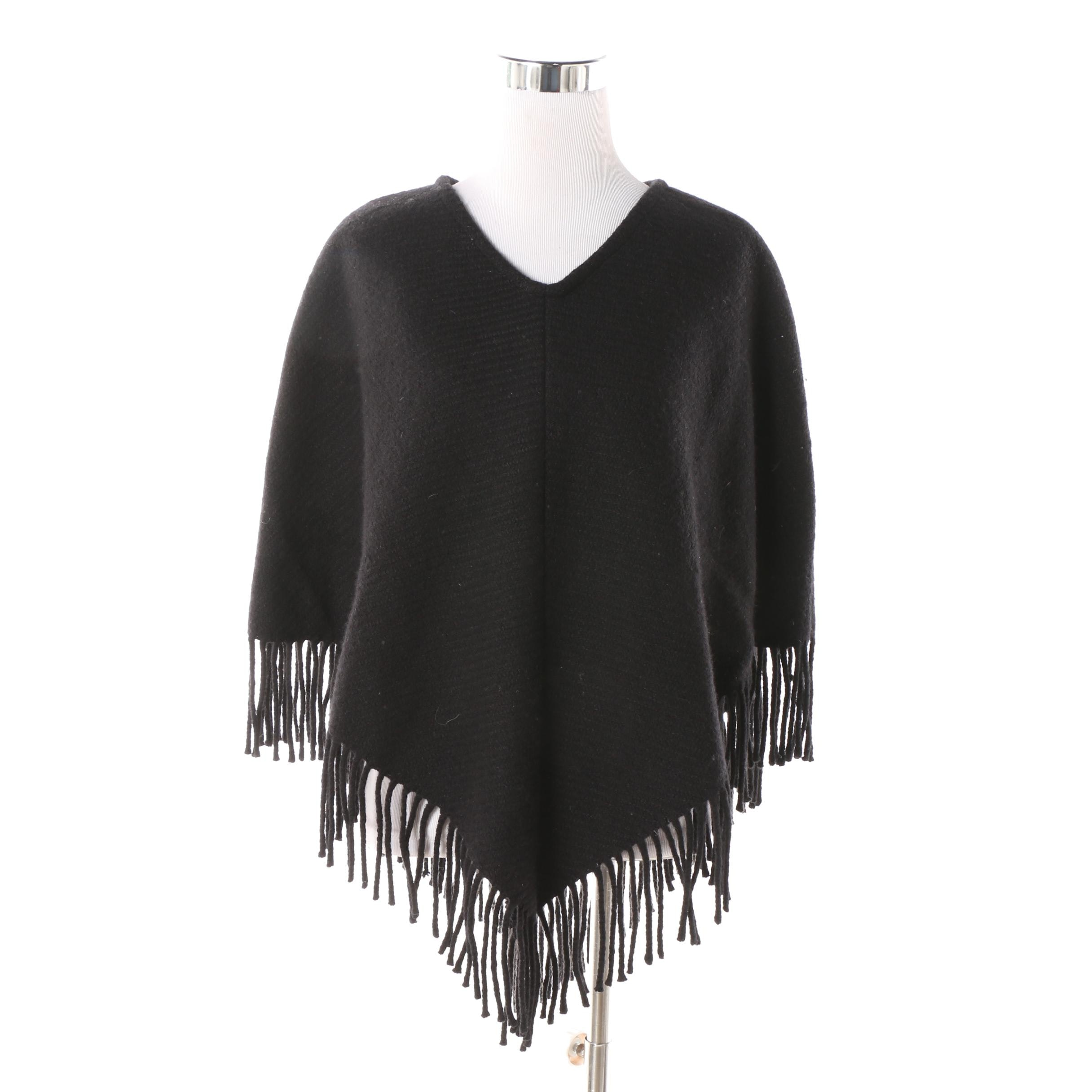 Burberry Black Cashmere and Wool Blend Fringed Poncho