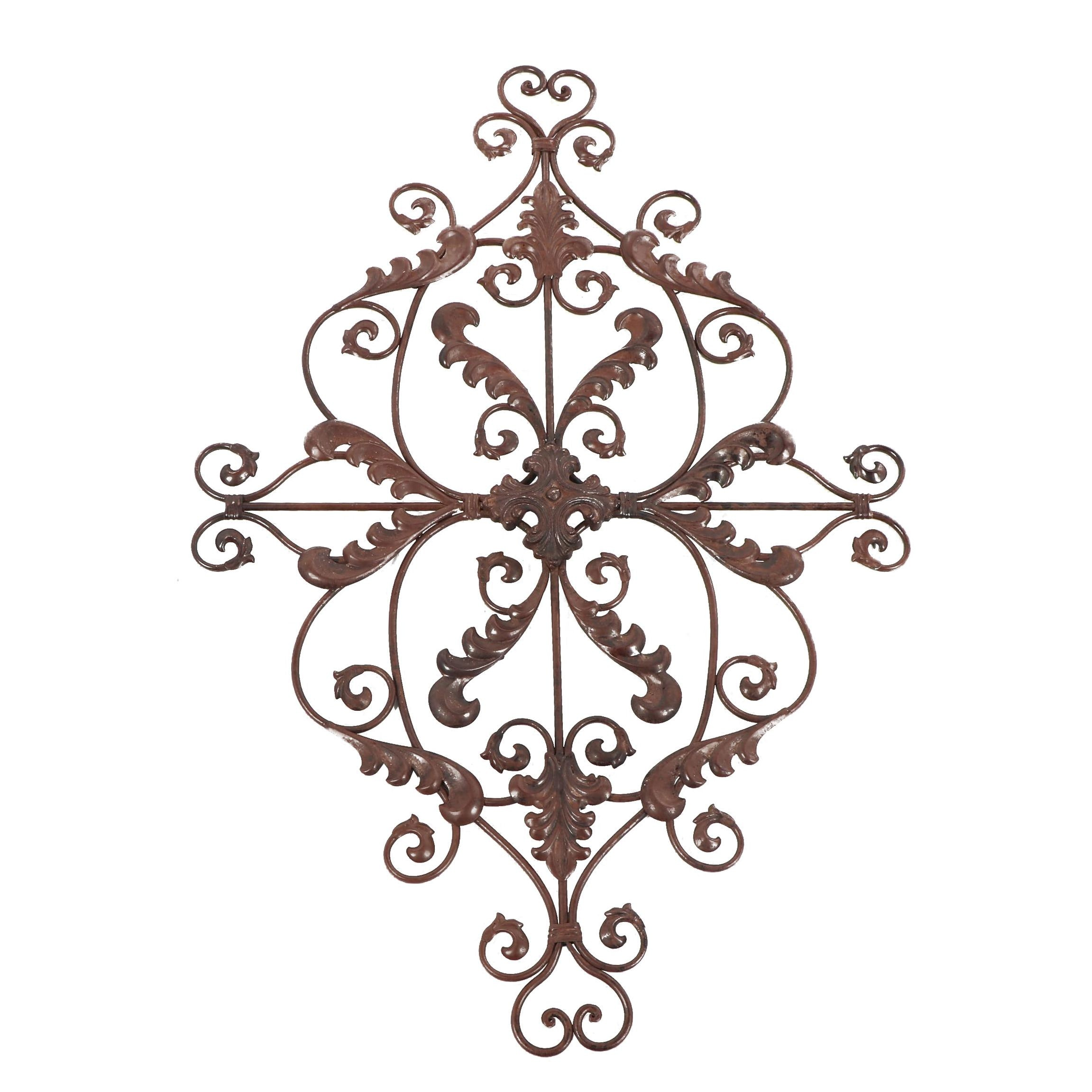 Scrolled Metal Wall Plaque with Leaf Decoration