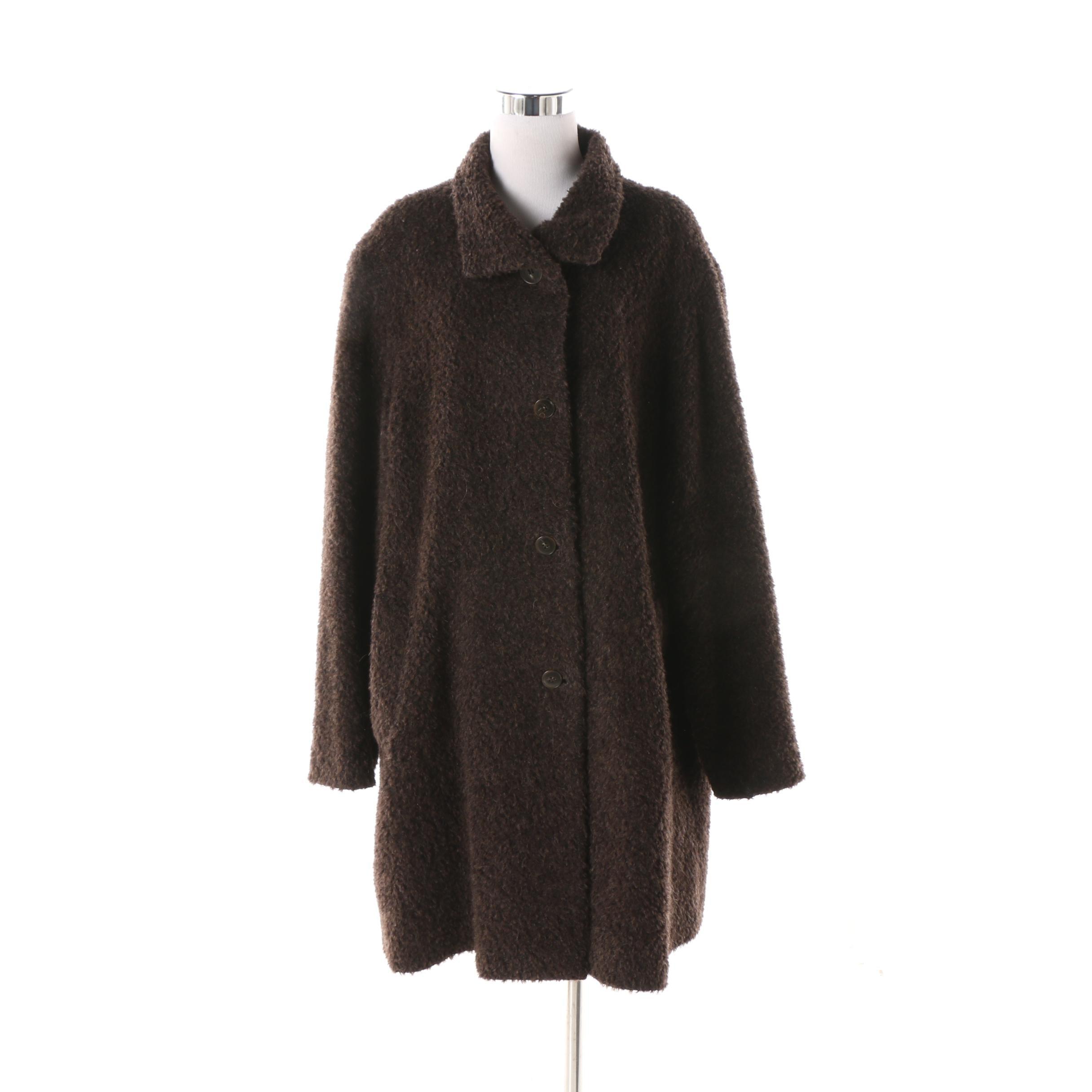 Cinzia Rocca Italian Brown Wool Blend Coat