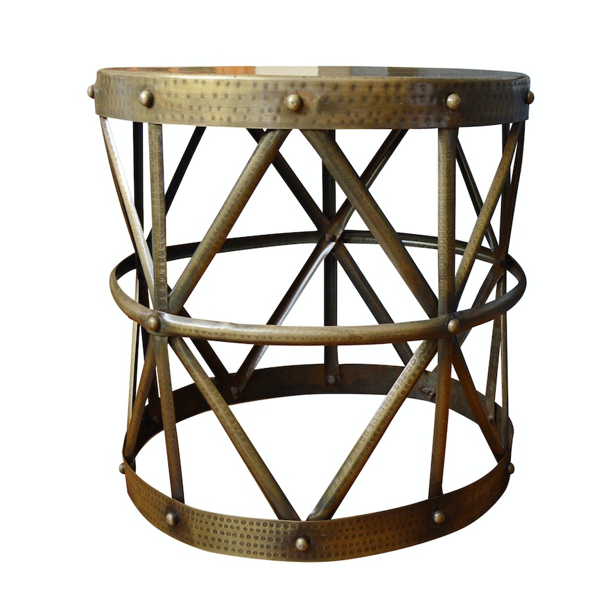Neoclassic Style Hammered Metal Side Table Ebth