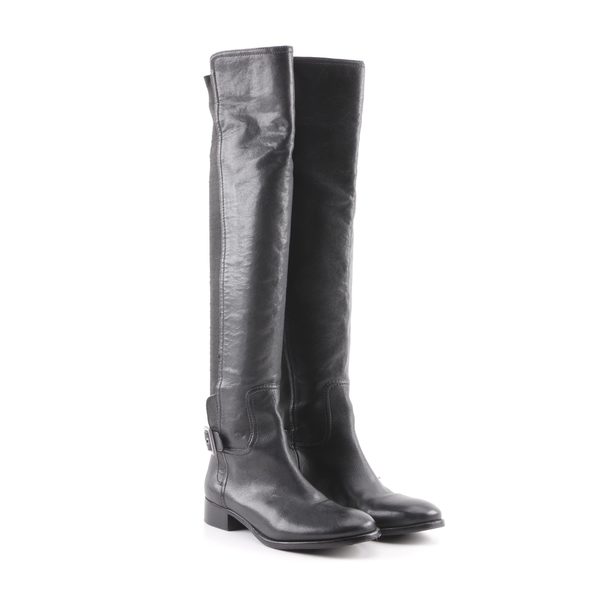 Tory Burch Black Leather Over-the-Knee Boots