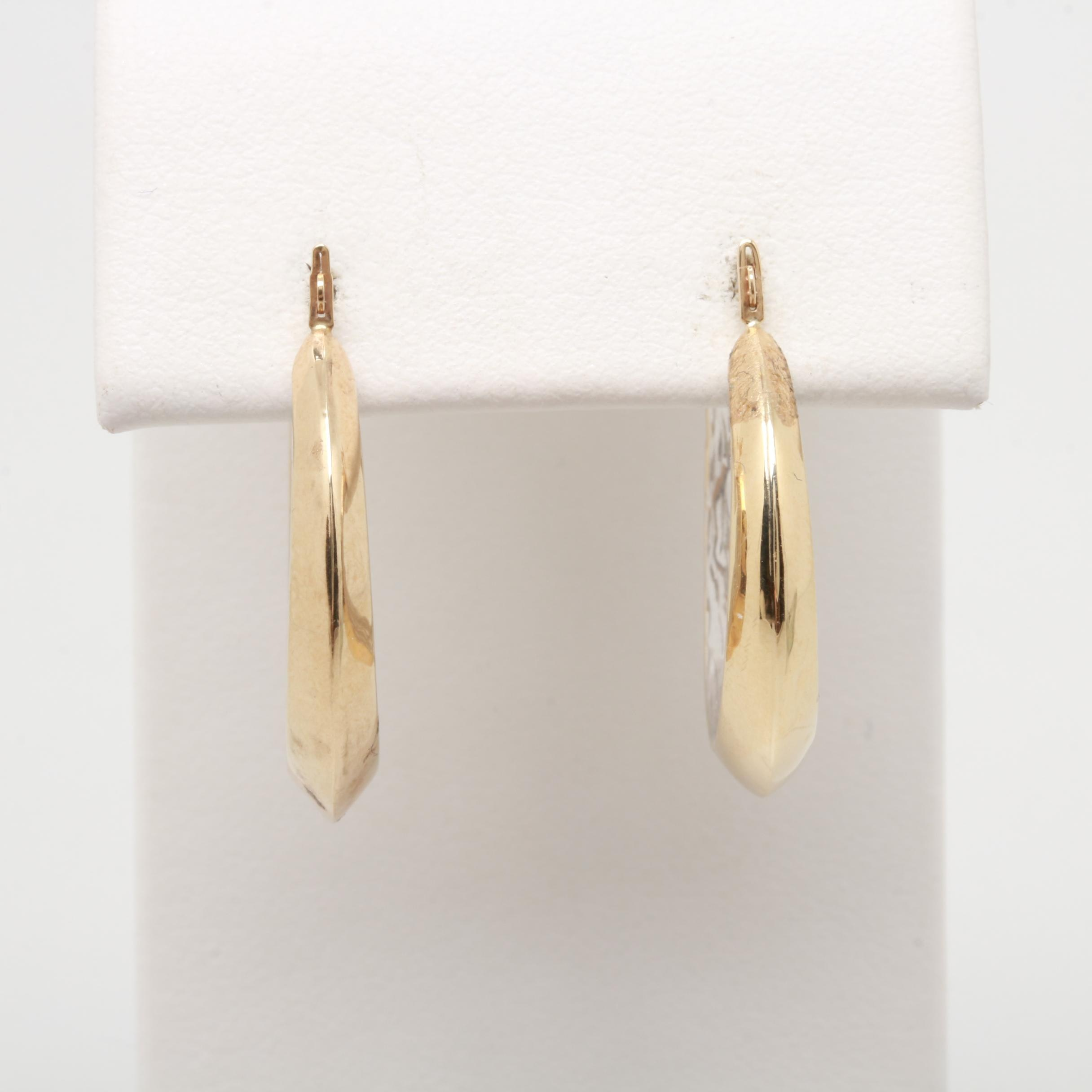 10K White and Yellow Gold Textured Hoop Earrings