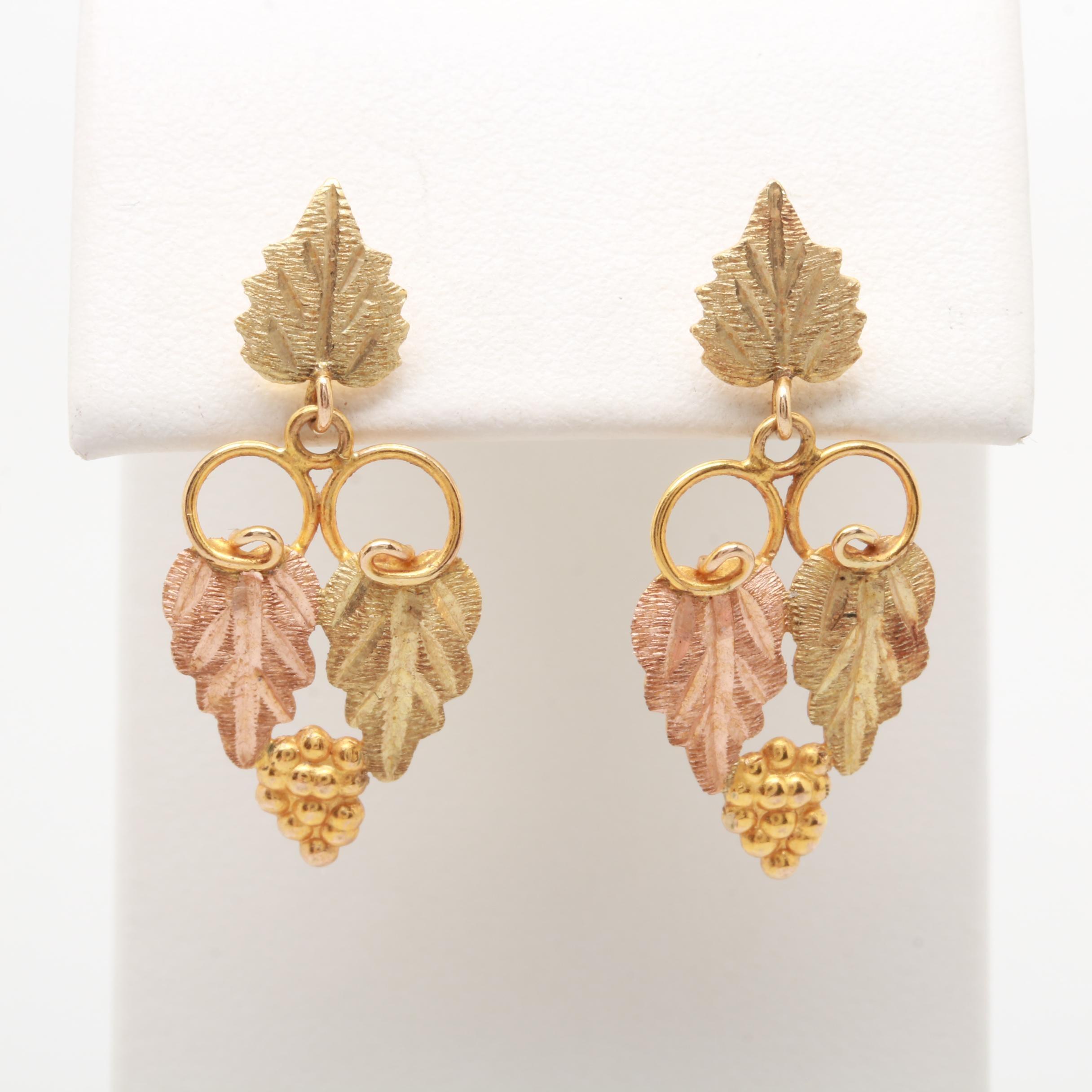 Landstrom's Black Hills Gold 10K Tri-Gold Foliate Dangle Earrings
