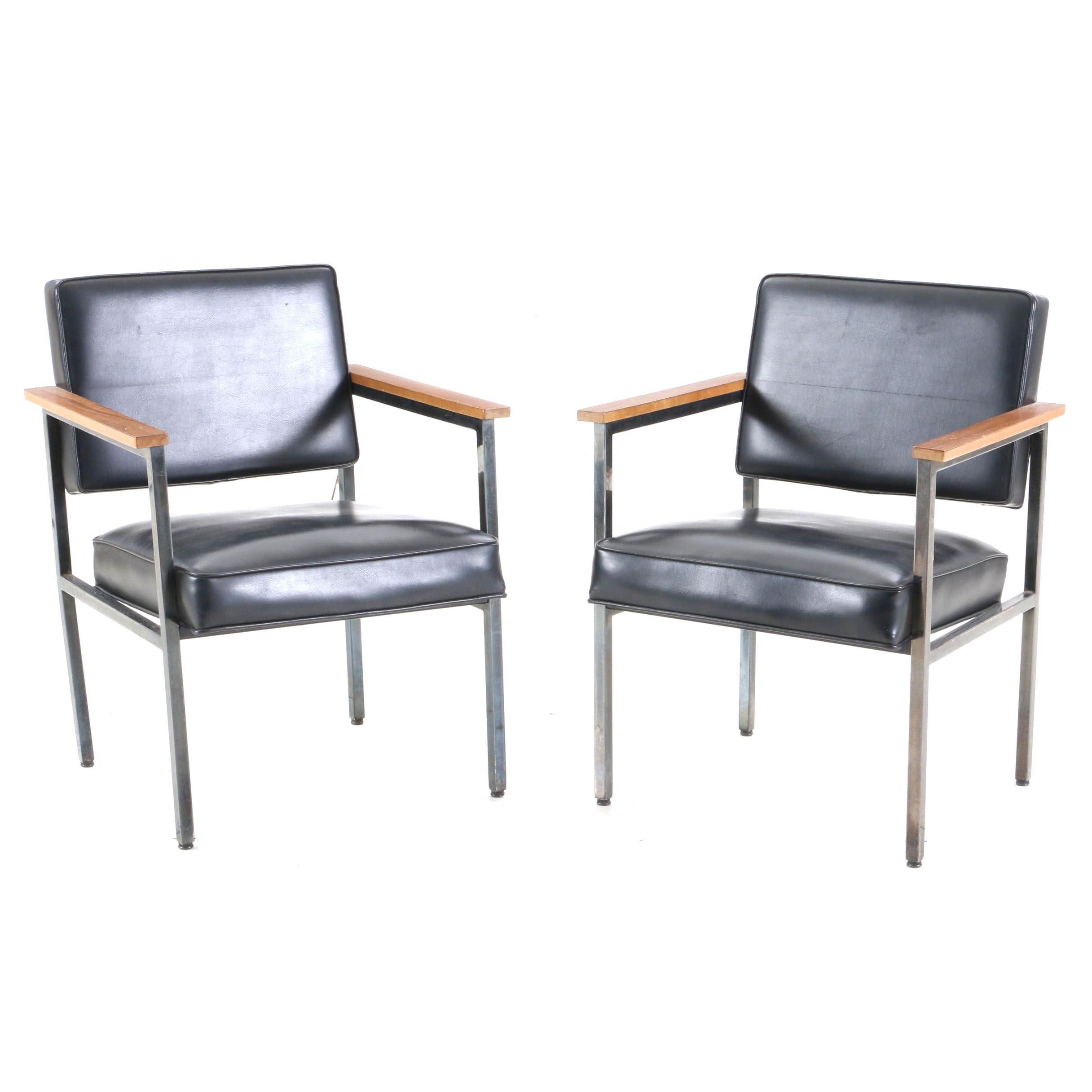 Mid Century Modern Style Black Vinyl Open Arm Chairs