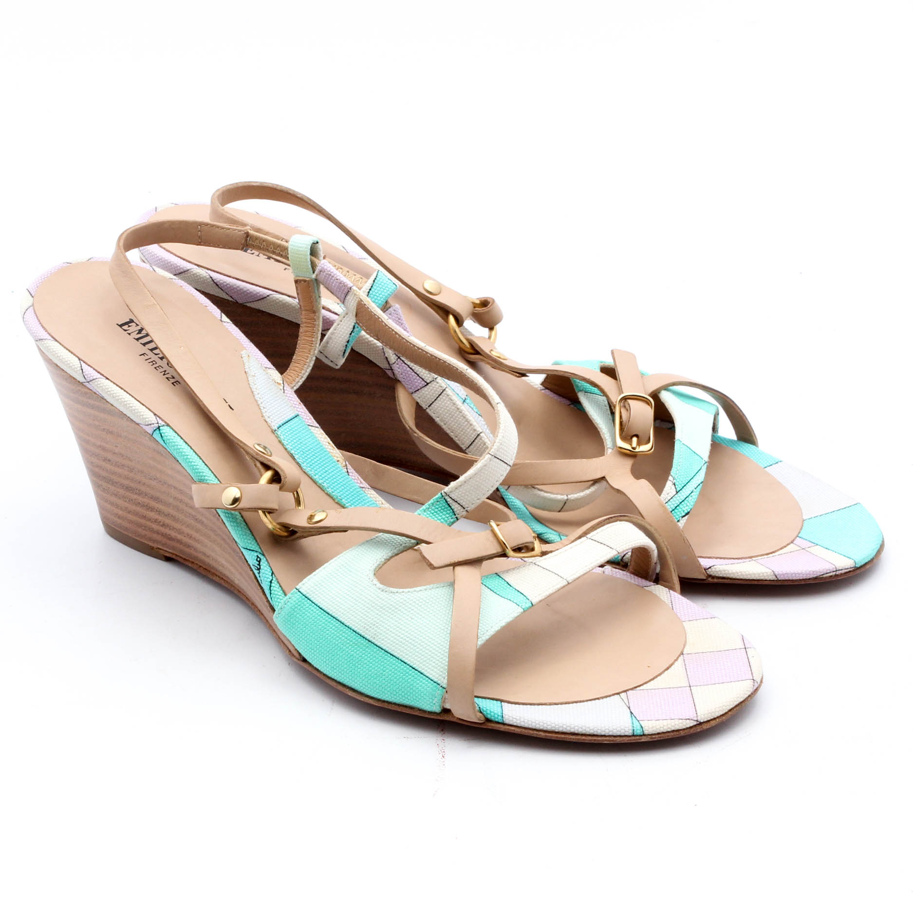 Canvas Italy Leather Wedge Firenze Emilio Pucci SandalsMade In And TlFK1c3J