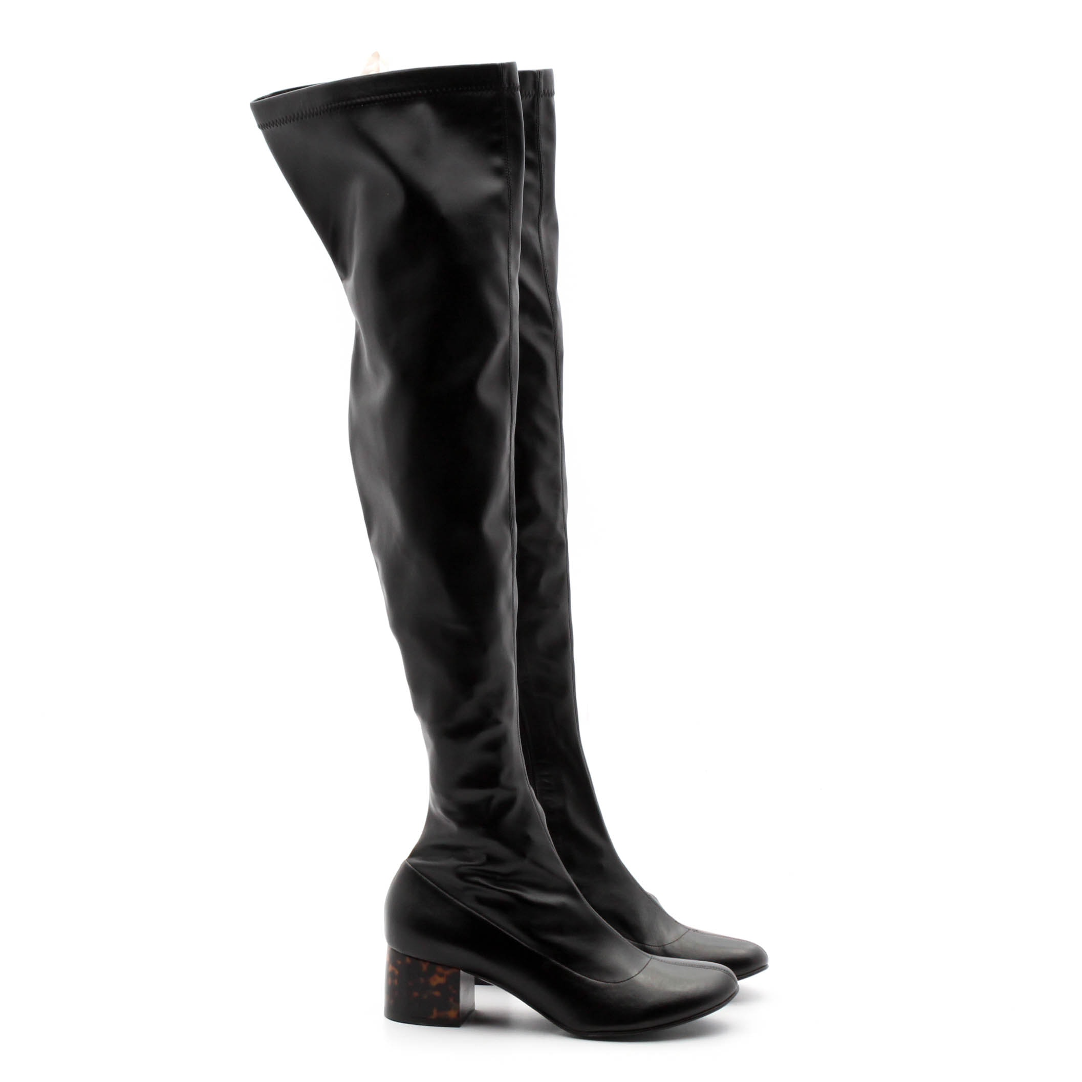 Stella McCartney Over-the-Knee Boots with Faux Tortoise Chunky Heels