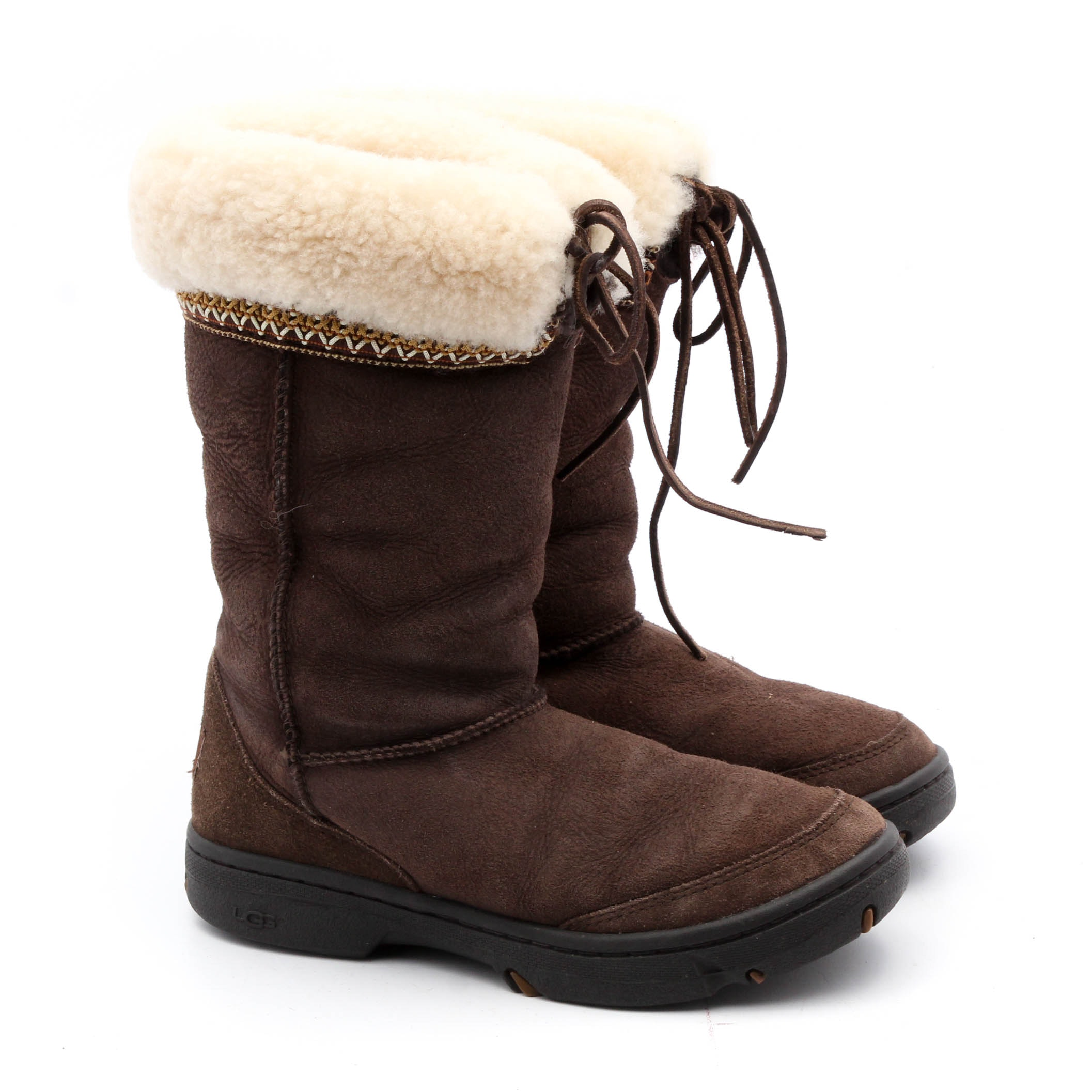 UGG Australia Brown Suede Shearling Mid-Calf Boots