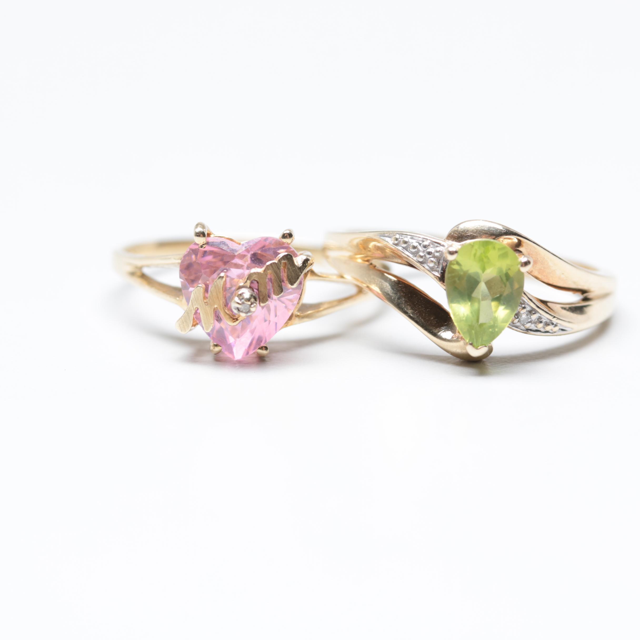 10K Yellow Gold Peridot and Pink Zirconia Rings with Diamonds