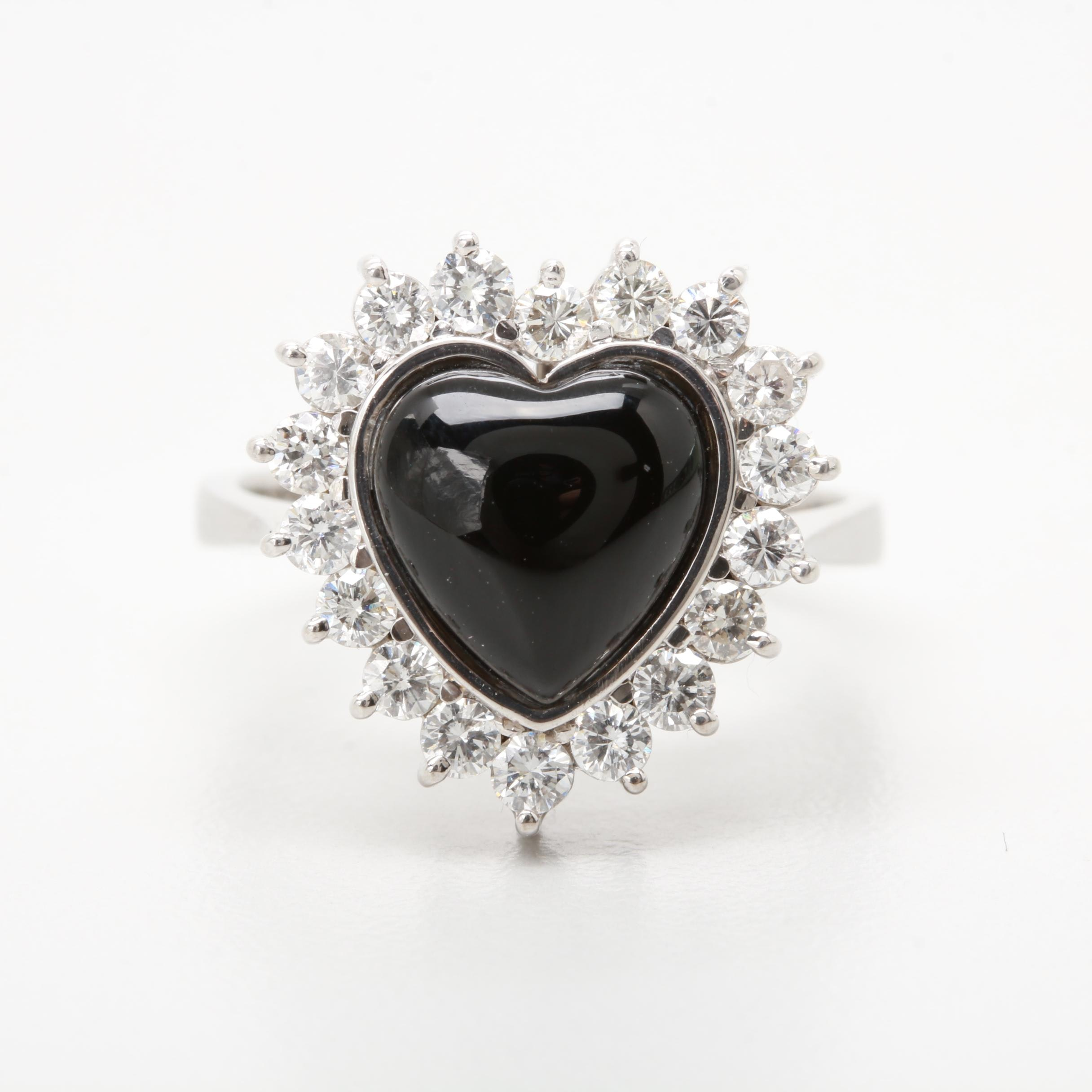 18K White Gold Black Onyx and Diamond Ring