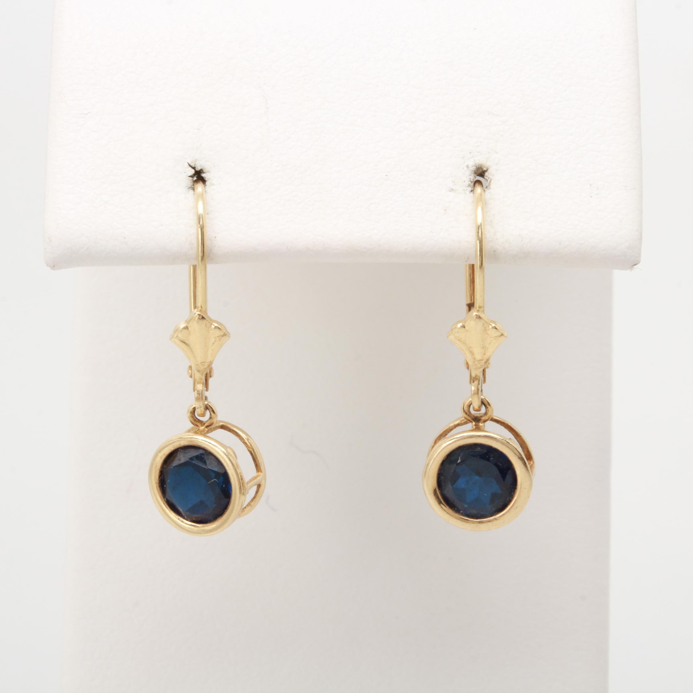 14K Yellow Gold Blue Sapphire Dangle Earrings