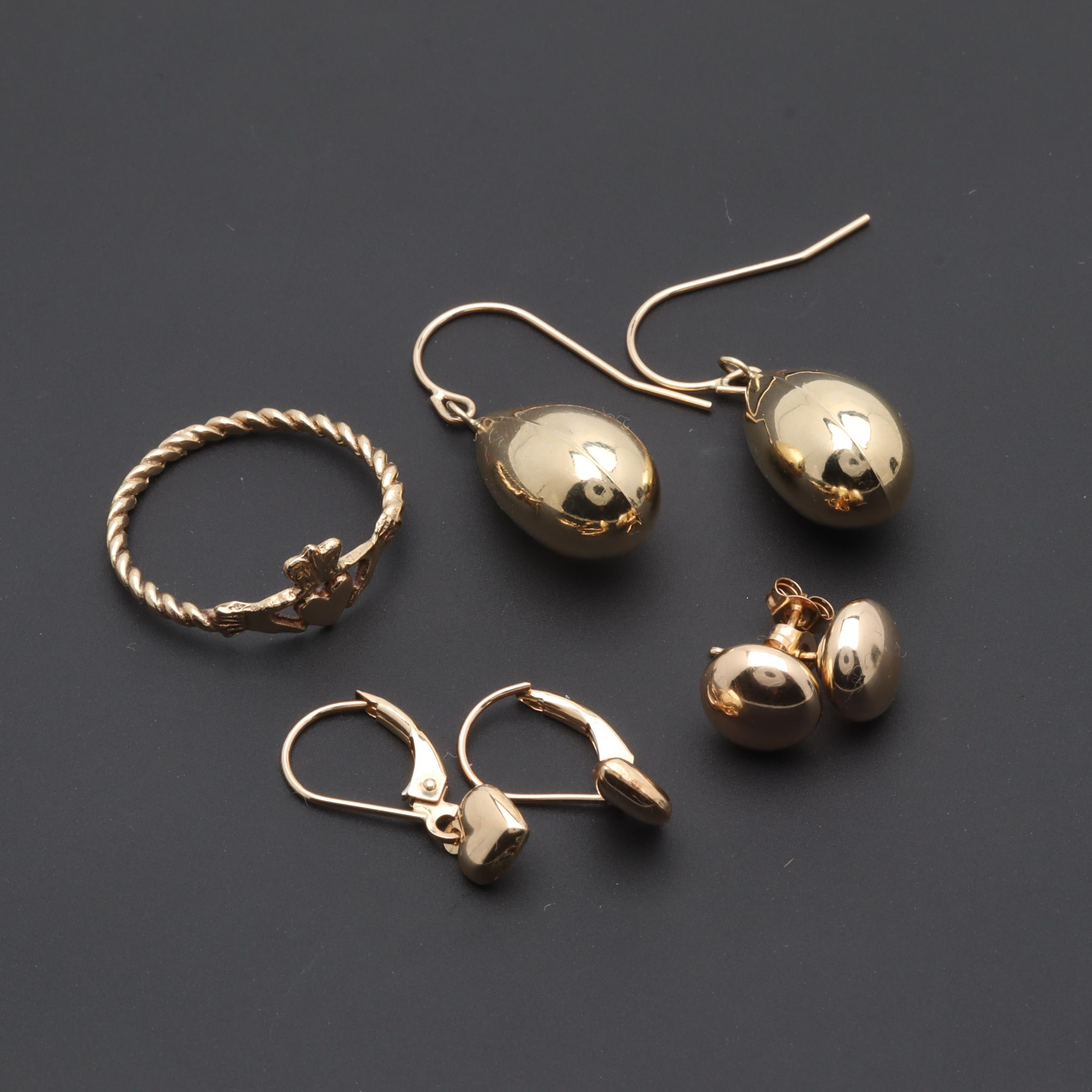 9K and 10K Yellow Gold Ring and Earrings