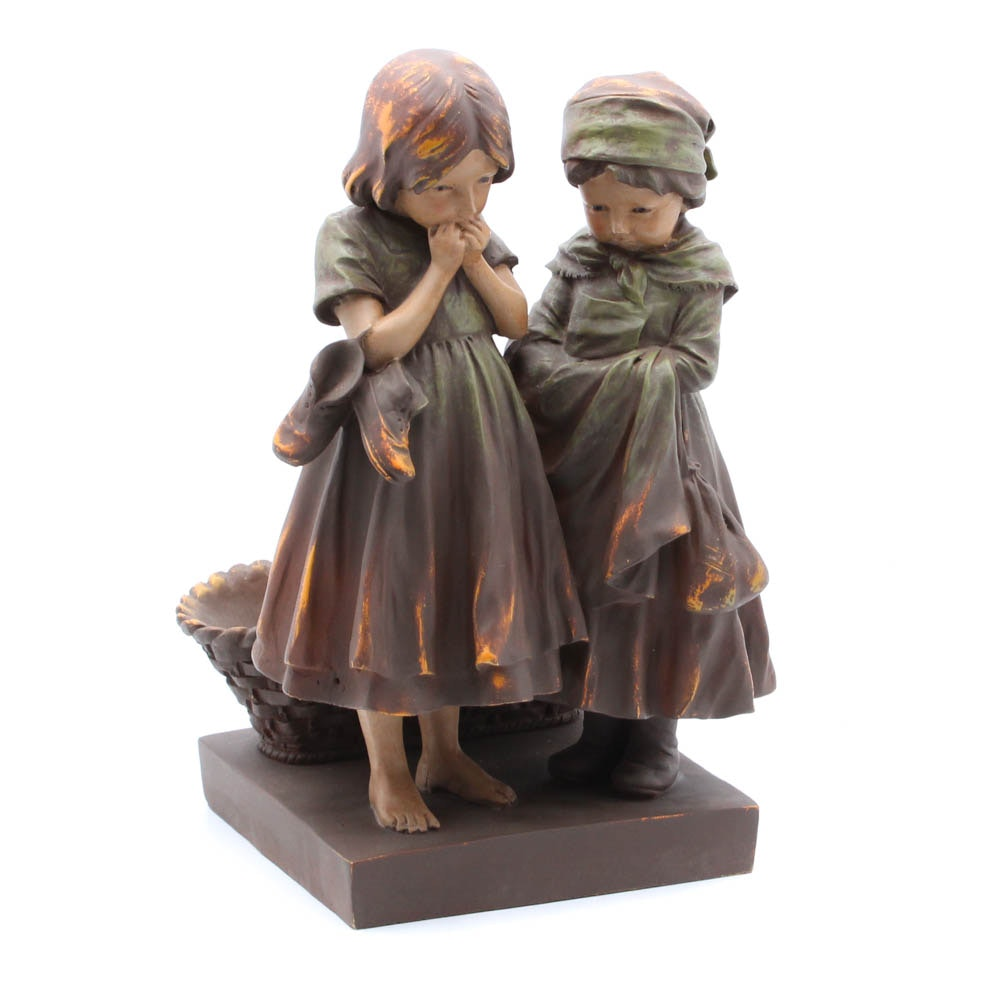 Figural Planter of Two Peasant Girls