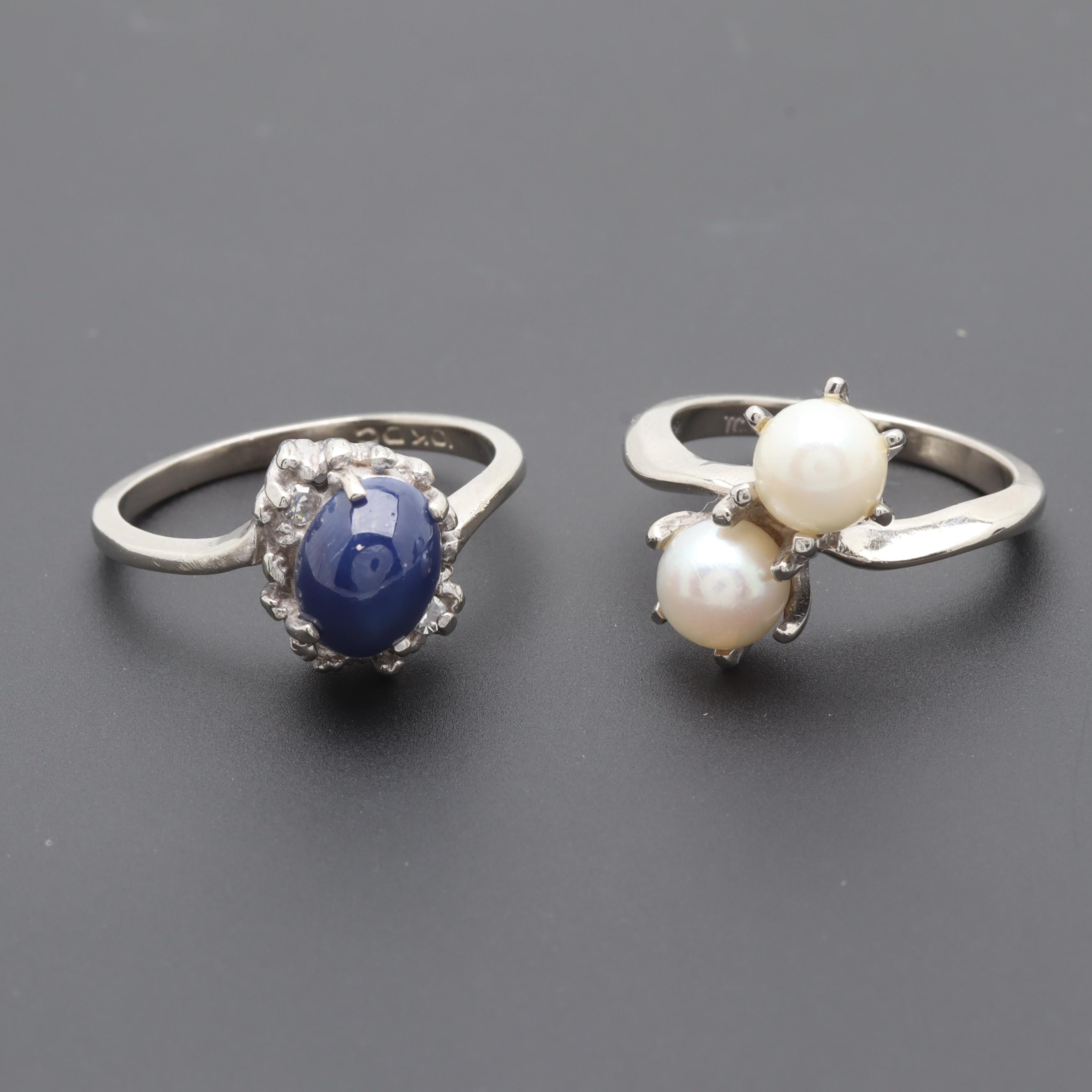10K White Gold Sapphire and Cultured Pearl Rings Including Diamonds