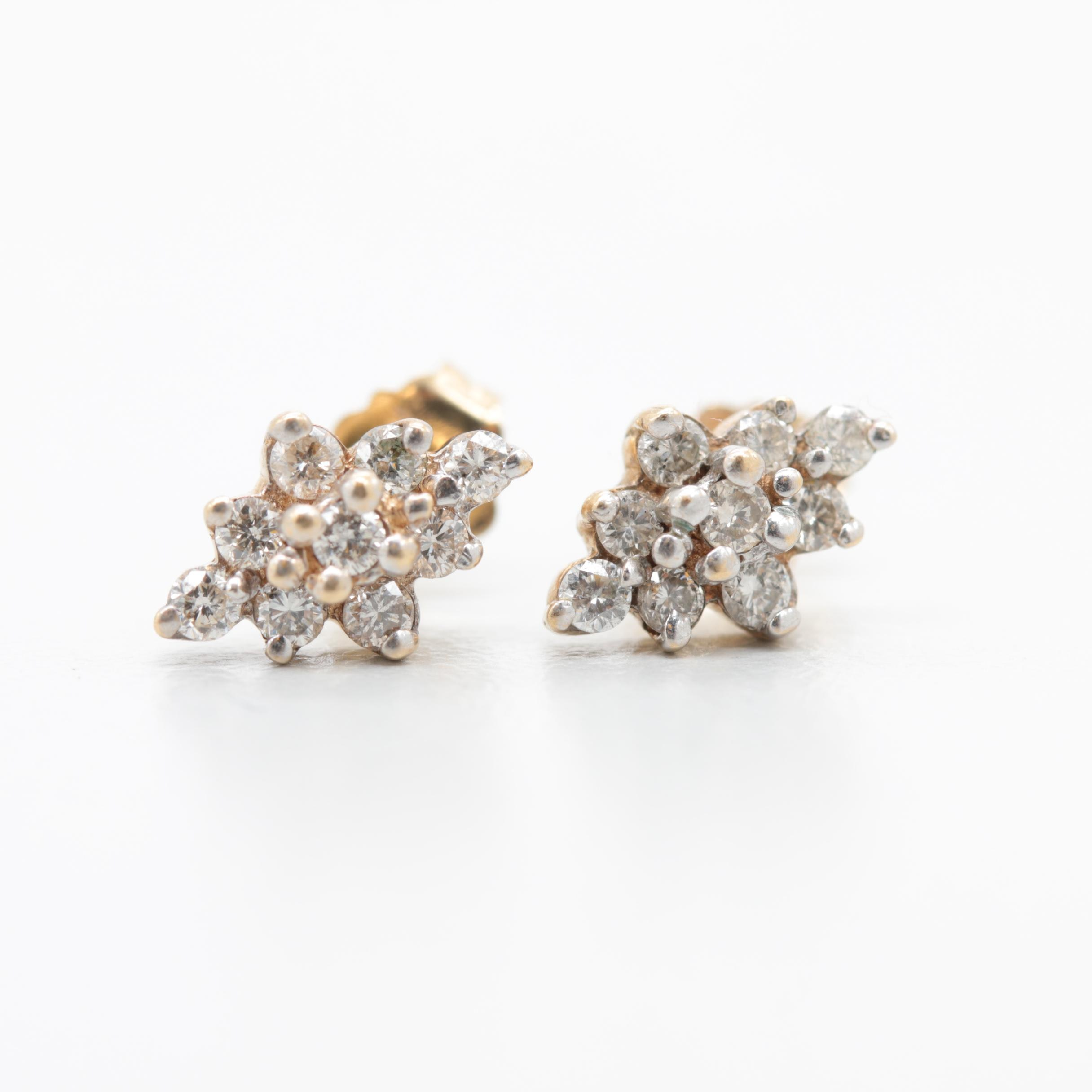 14K Yellow Gold Diamond Cluster Drop Earrings
