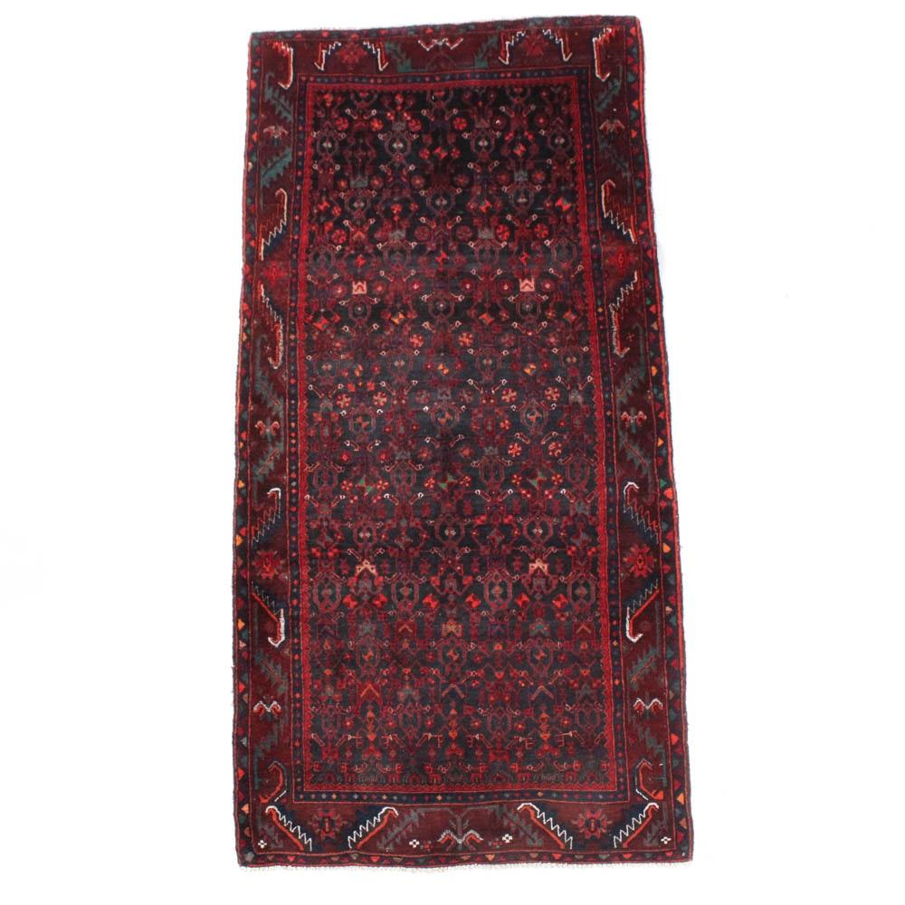 Semi-Antique Hand-Knotted Persian Kurdish Bijar Hallway Runner