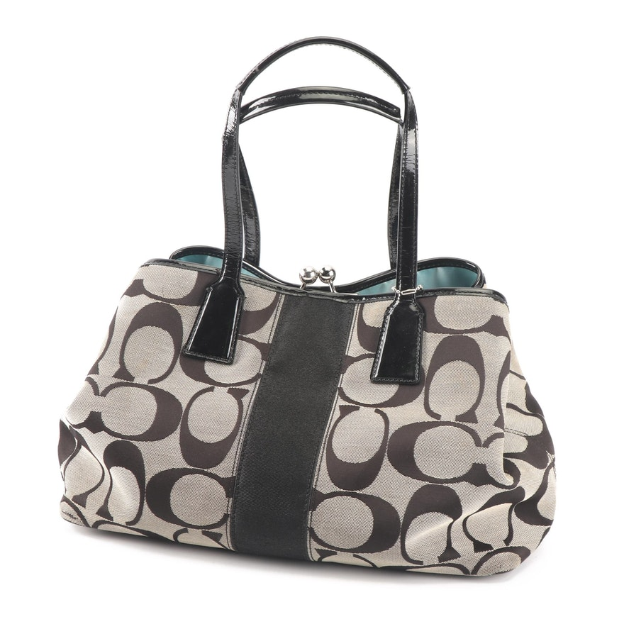 61ce0b5c6647 Coach Signature Stripe Kisslock Canvas and Patent Leather Carryall   EBTH