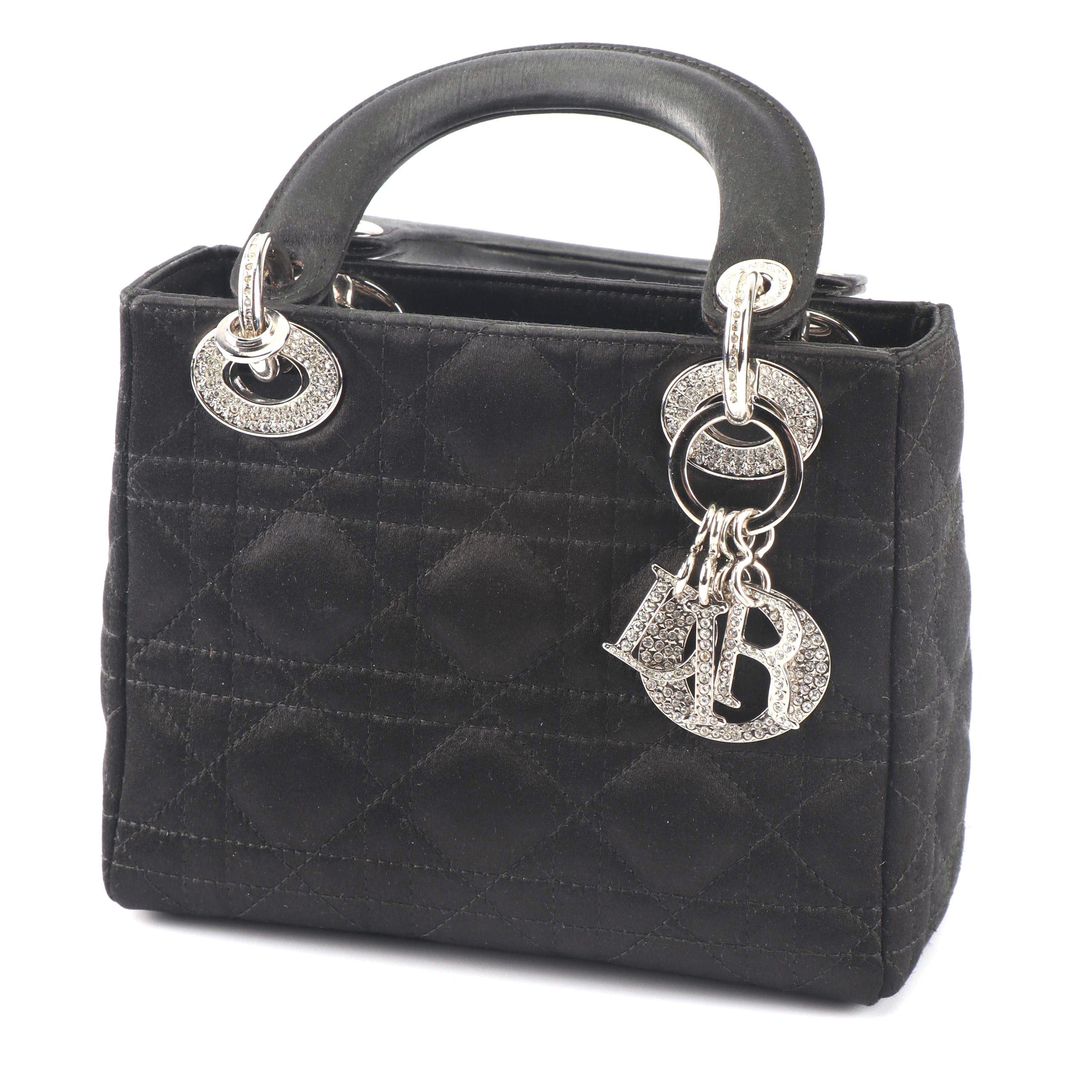 Christian Dior Lady Dior Quilted Black Satin Handbag