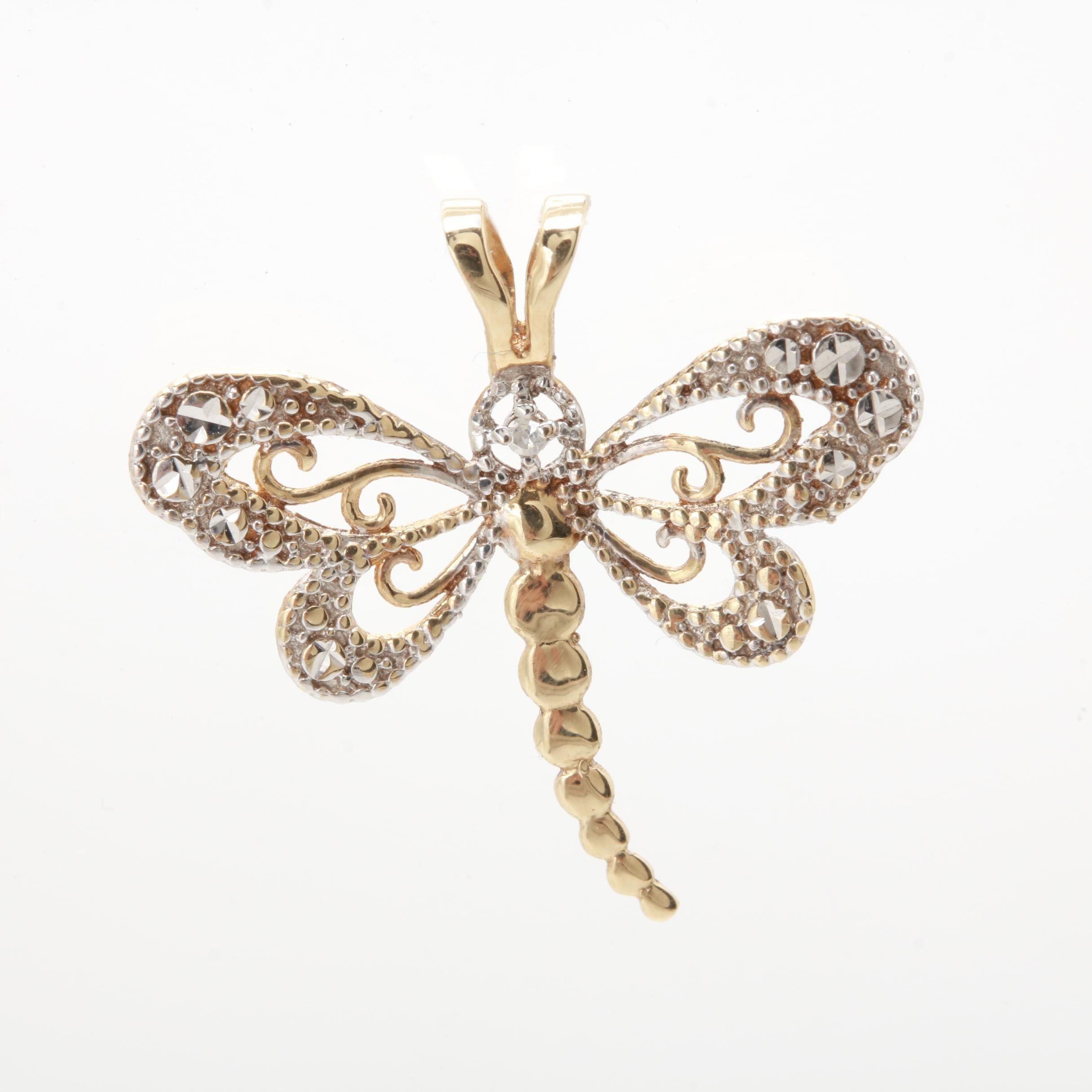 10K Yellow Gold Dragonfly Diamond Pendant