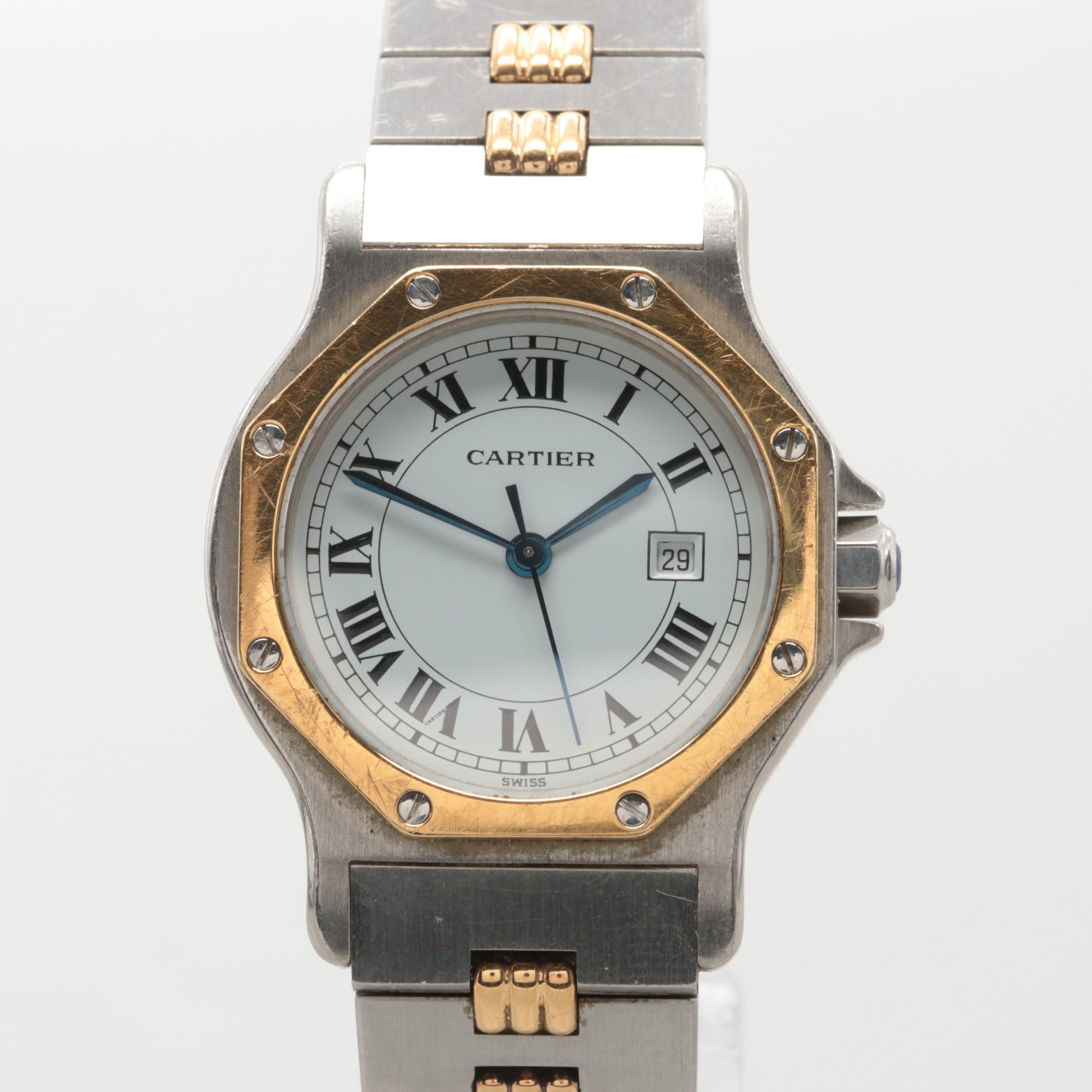 Vintage Cartier Santos Two-Tone Blue Sapphire Automatic Wristwatch