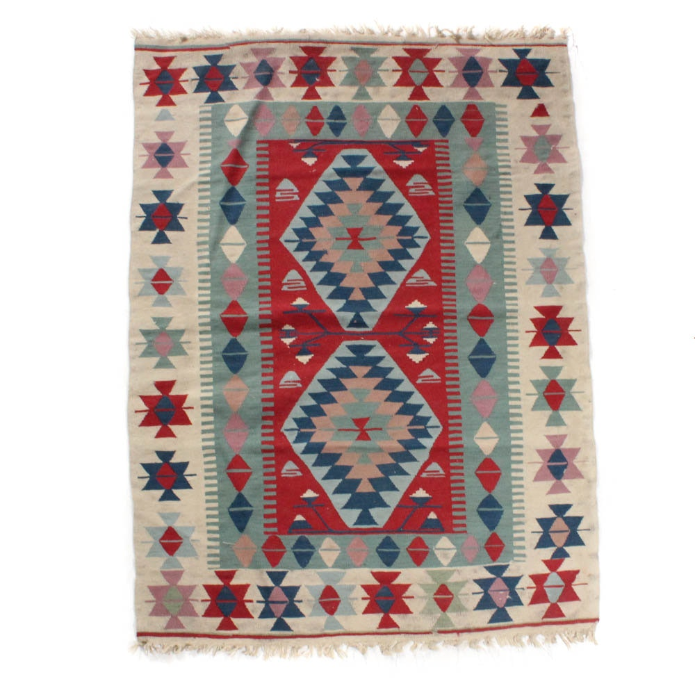Old Hand-Knotted Turkish Kilim Rug
