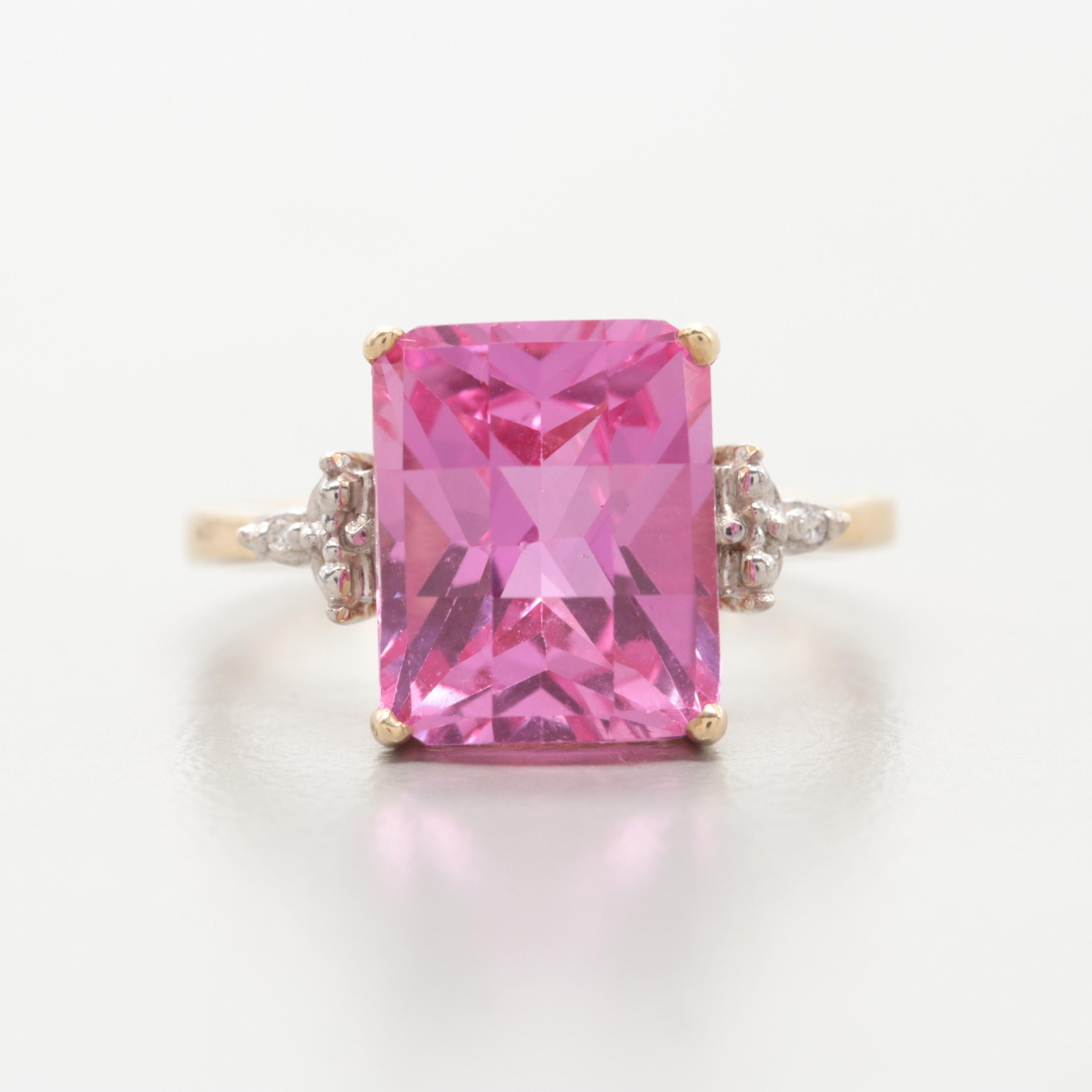 10K Yellow Gold Synthetic Pink Sapphire and Diamond Ring