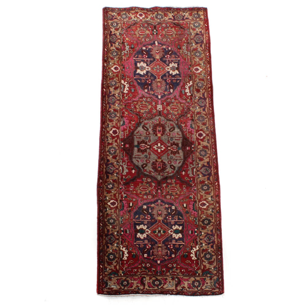 Semi-Antique Hand-Knotted Persian Heriz Long Rug